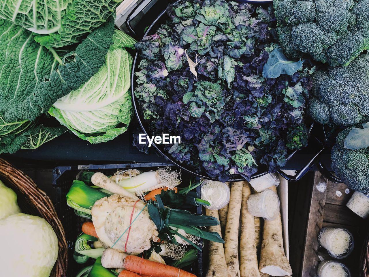 Full frame shot of various vegetables at market
