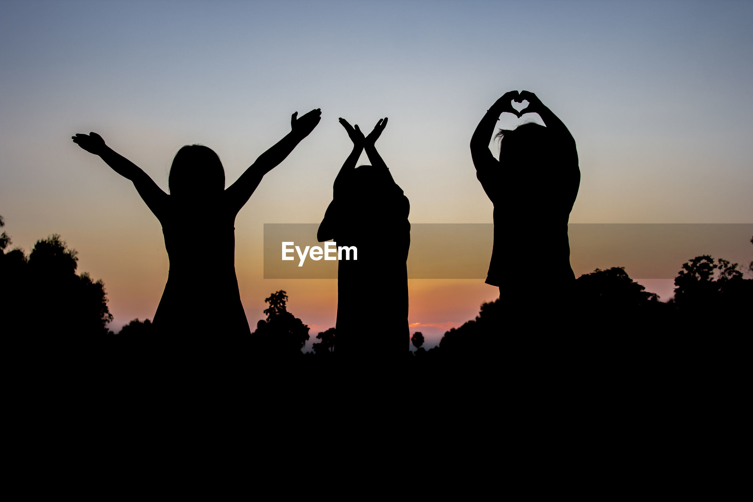 Silhouette friends gesturing while standing against sky during sunset