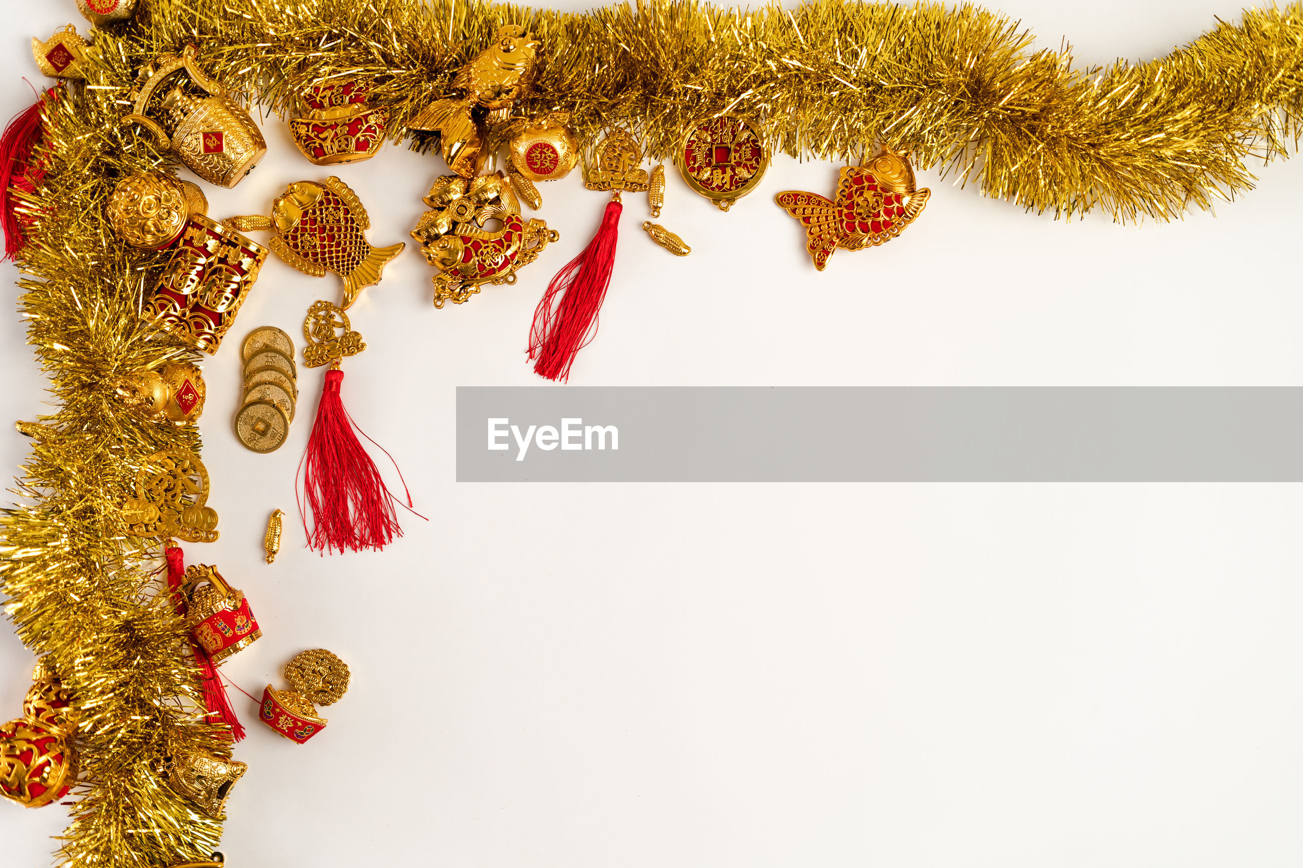 High angle view of decorations on white background