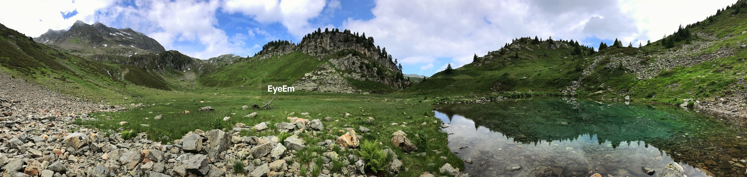 PANORAMIC VIEW OF LAKE BY MOUNTAINS AGAINST SKY