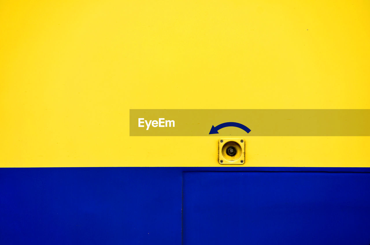 yellow, wall - building feature, copy space, blue, architecture, built structure, no people, indoors, day, security, protection, metal, close-up, safety, full frame, handle, entrance, door, purple