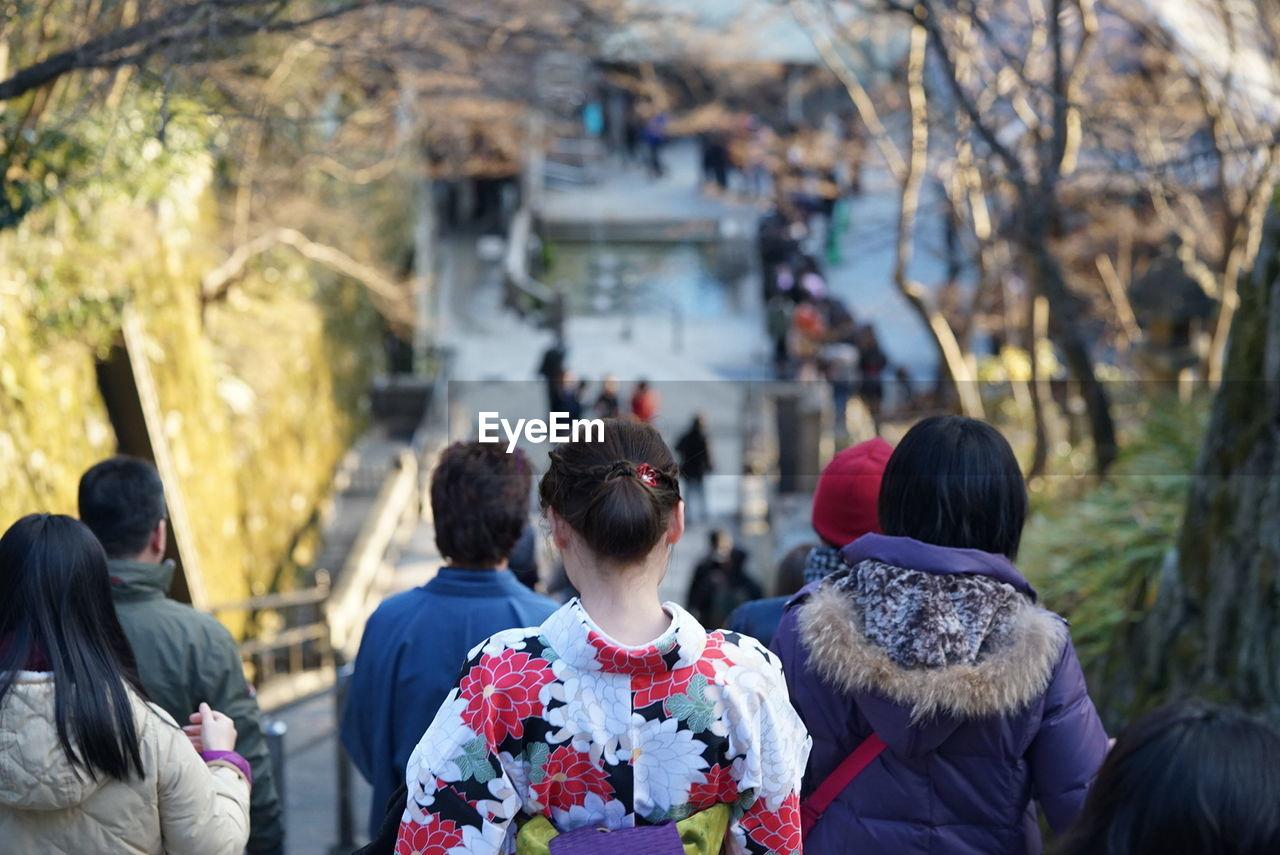 Rear View Of People On Steps At Kiyomizu-Dera