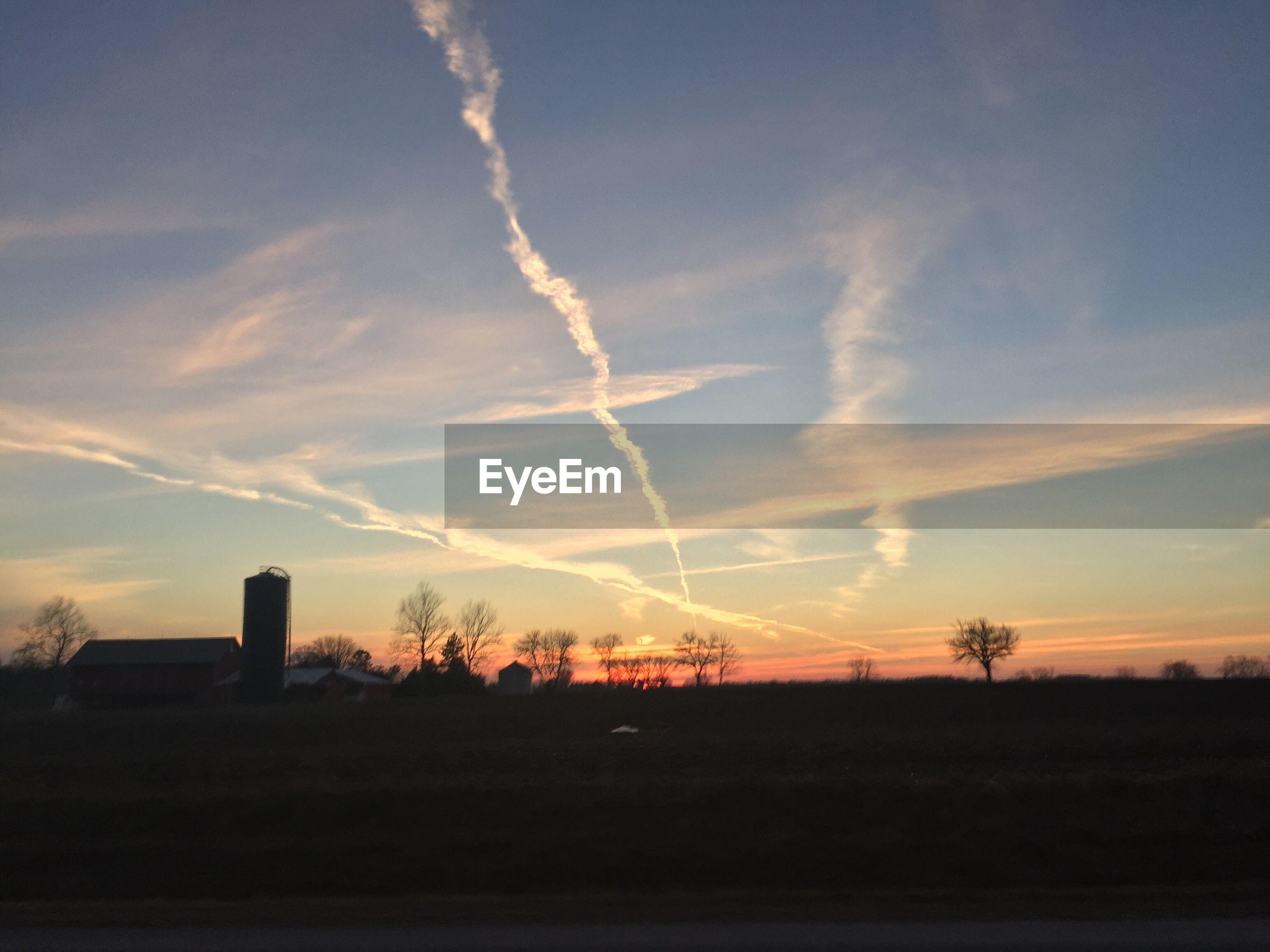 sunset, sky, landscape, field, silhouette, tranquil scene, tranquility, scenics, beauty in nature, tree, rural scene, nature, cloud - sky, cloud, idyllic, outdoors, no people, dusk, orange color, non-urban scene