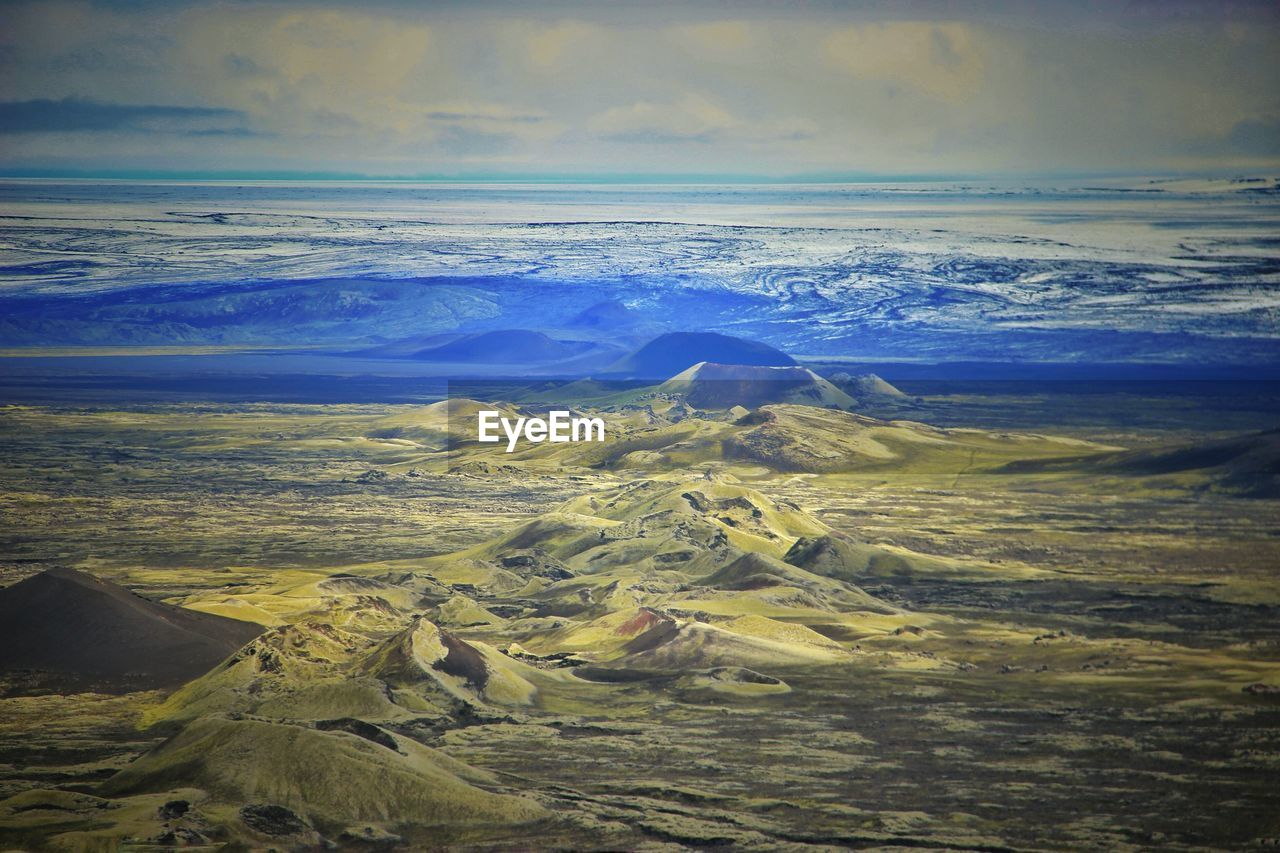 Scenic view of volcanic mountains