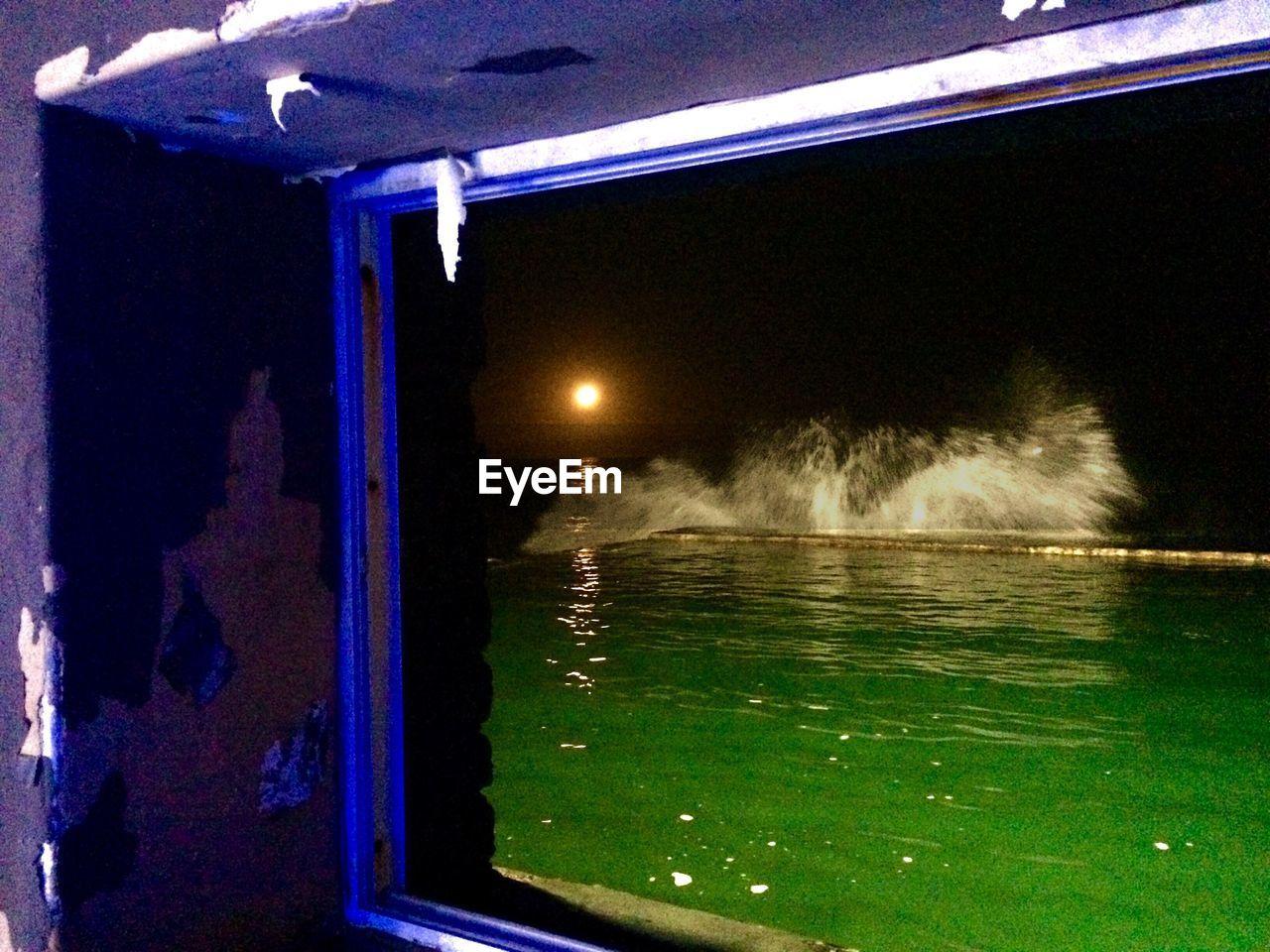 water, night, illuminated, motion, outdoors, no people, sea, nature