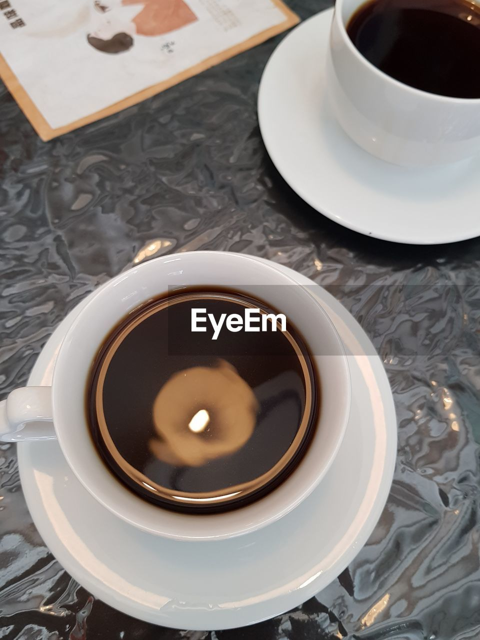drink, refreshment, food and drink, coffee cup, saucer, coffee - drink, high angle view, cup, table, freshness, indoors, plate, no people, food, close-up, day