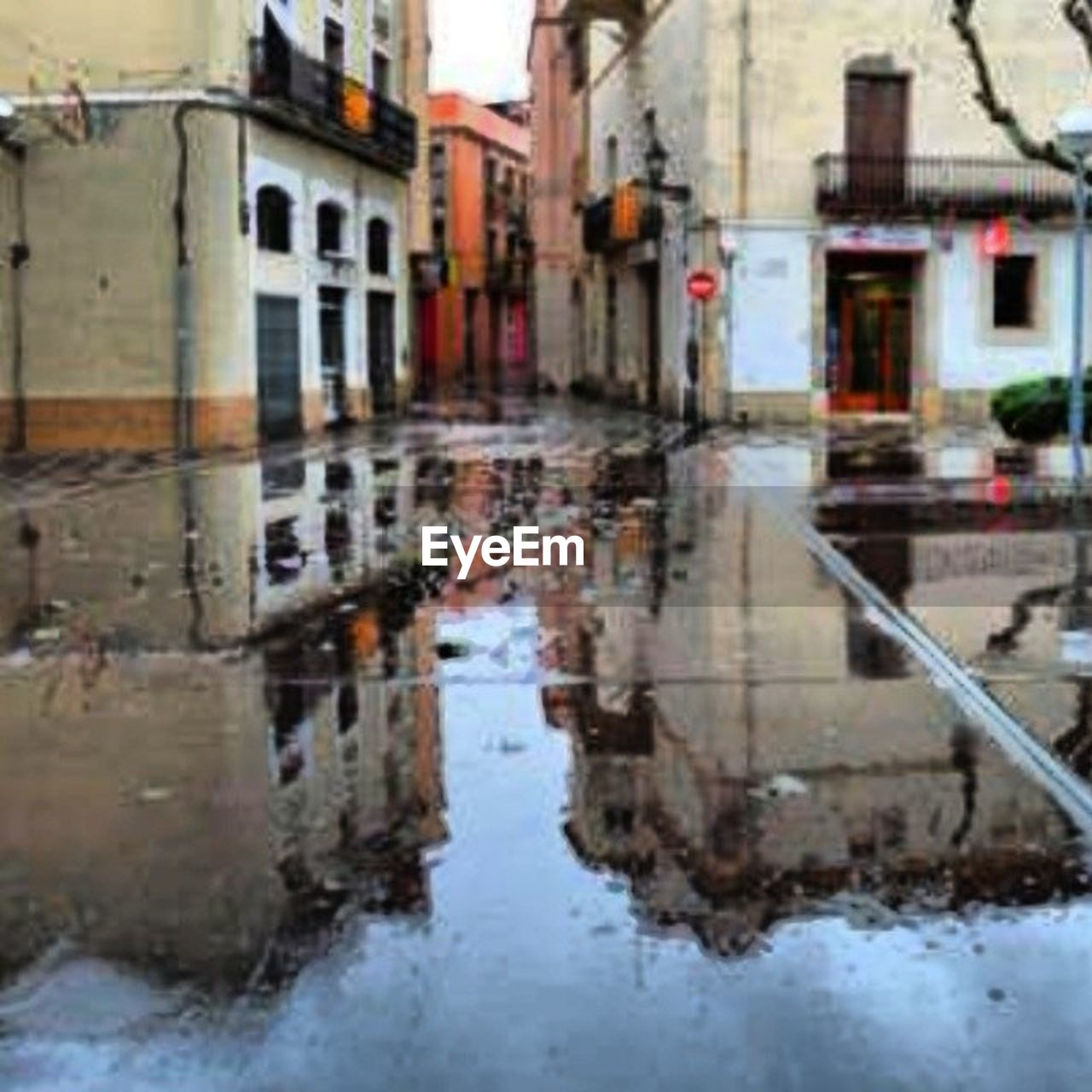 reflection, water, puddle, wet, day, outdoors, city, building exterior, no people, architecture