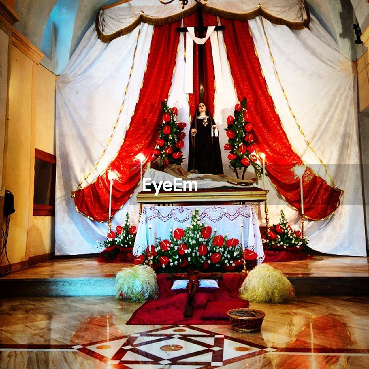indoors, religion, curtain, spirituality, no people, place of worship, altar, day, architecture