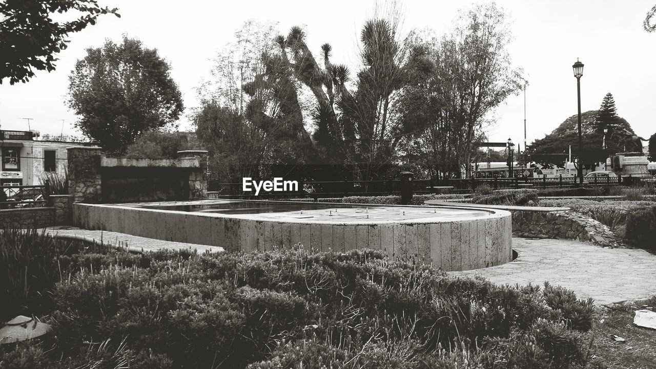 Dry fountain in park