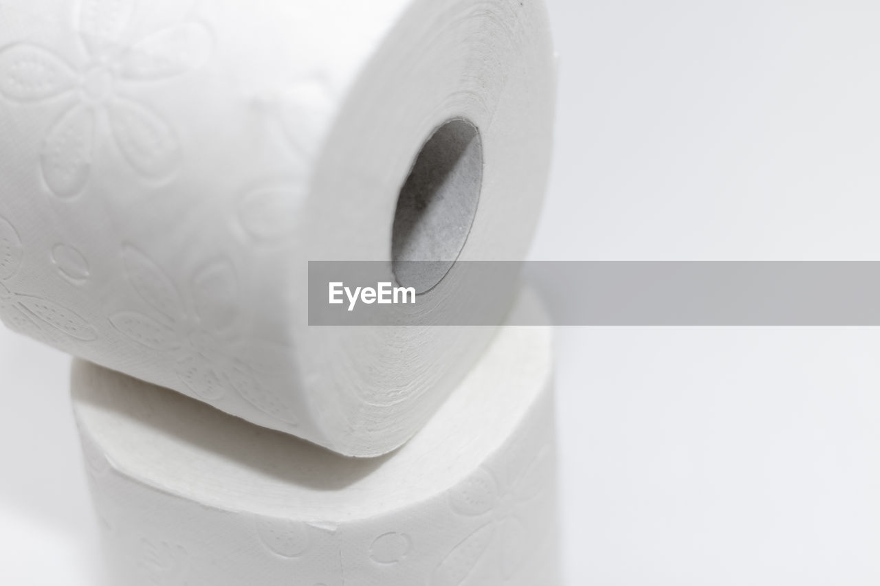 close-up, indoors, no people, white color, still life, representation, rolled up, hygiene, studio shot, focus on foreground, copy space, shape, animal, toilet paper, animal themes, white background, container, animal representation, man made, single object