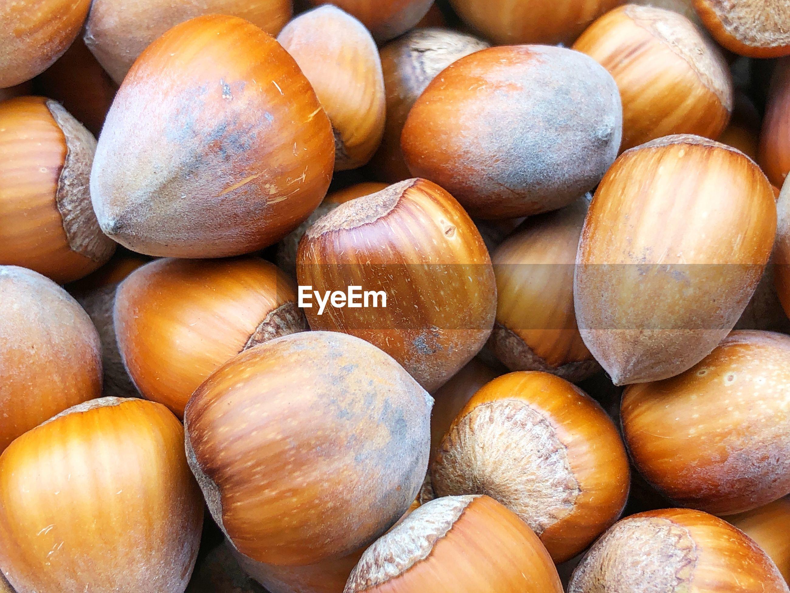 Full frame shot of hazelnuts for sale at market