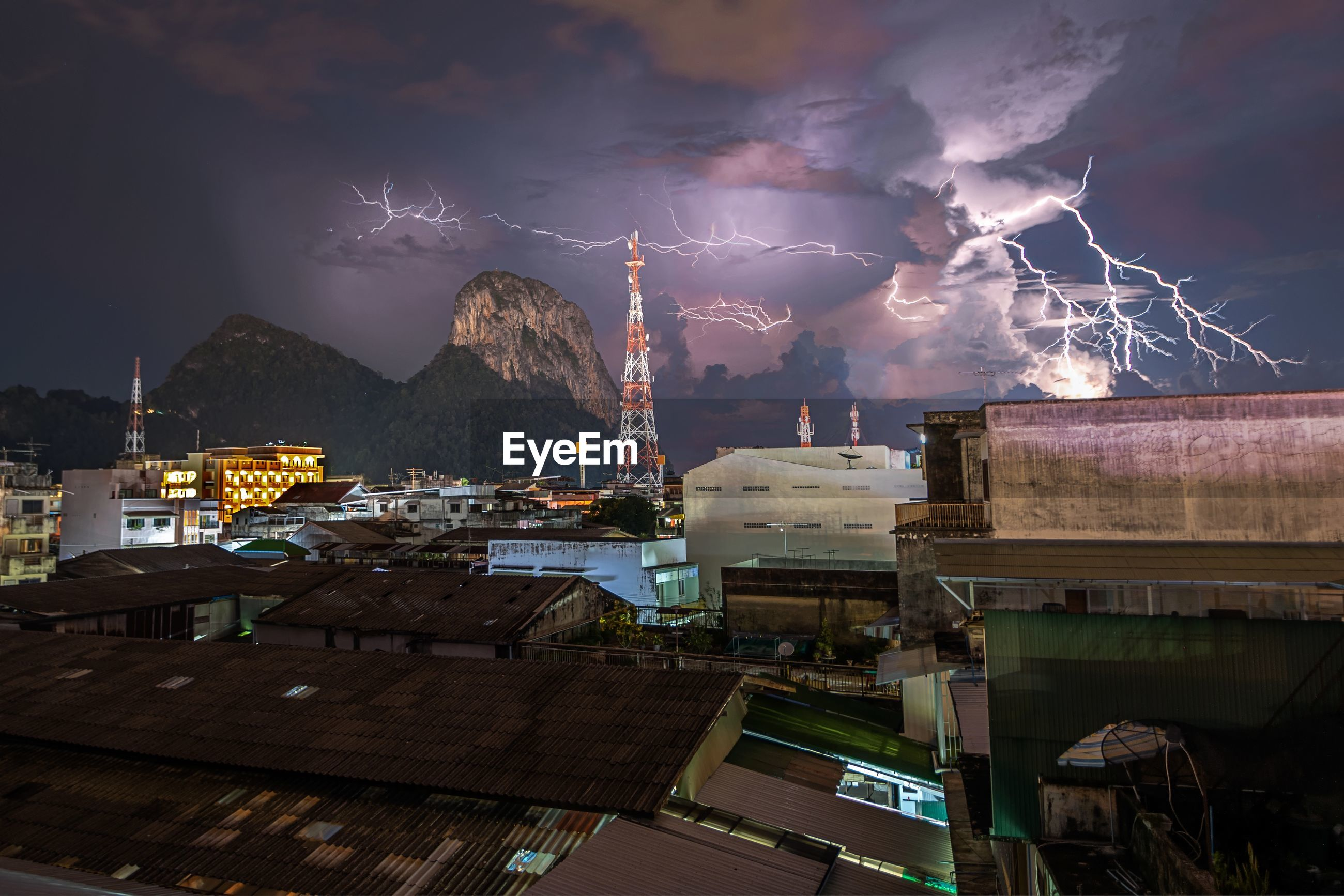 PANORAMIC VIEW OF ILLUMINATED CITY AGAINST SKY
