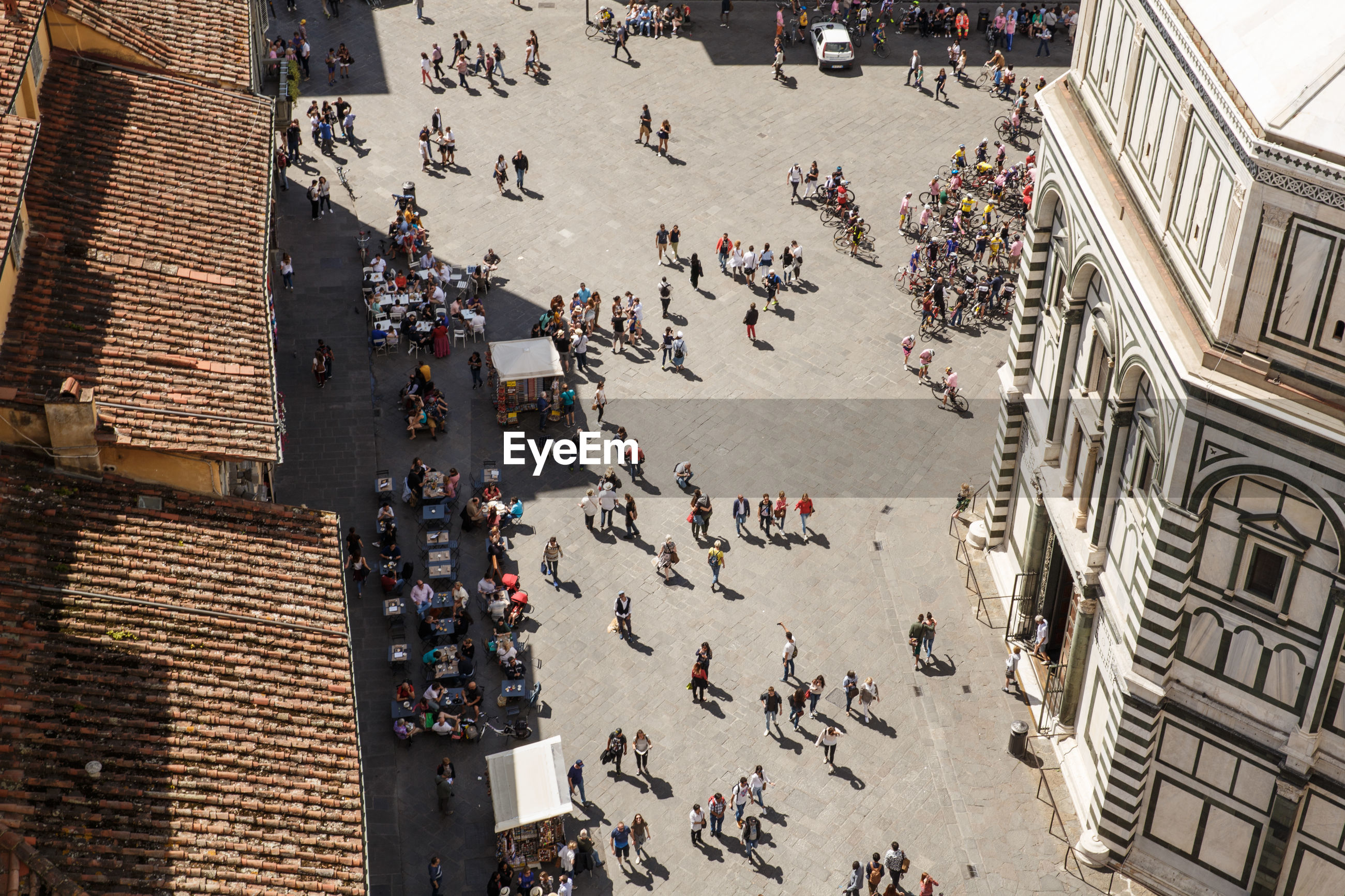 High angle view of people at florence cathedral