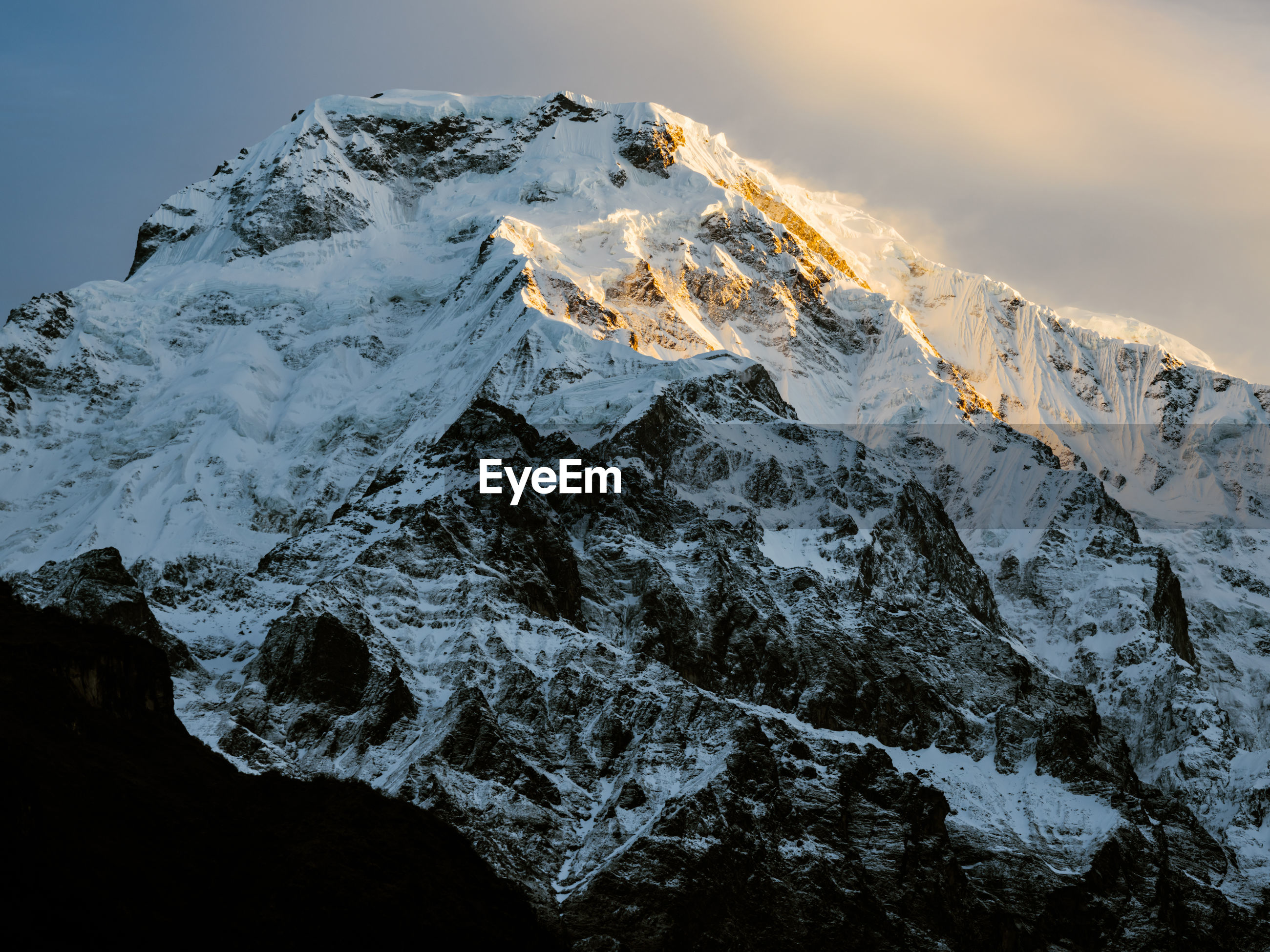 Annapurna south at sunrise, in the himalayan mountains of nepal.