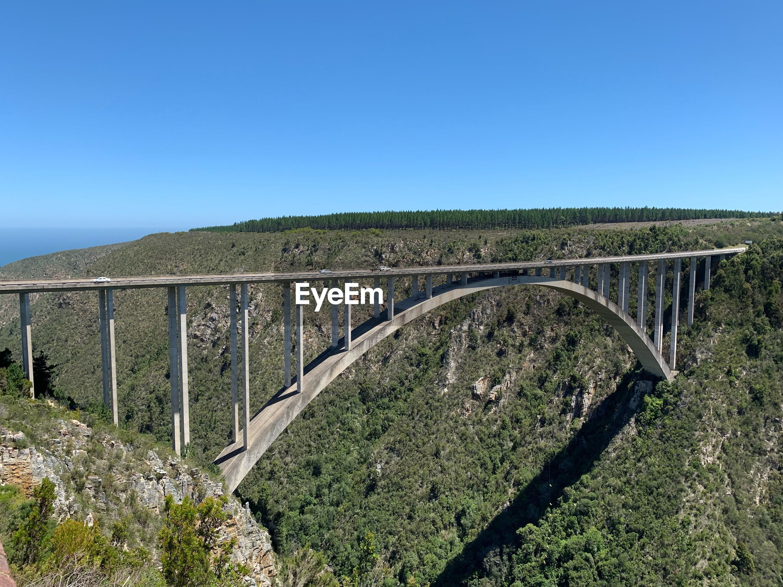 SCENIC VIEW OF BRIDGE AGAINST CLEAR BLUE SKY