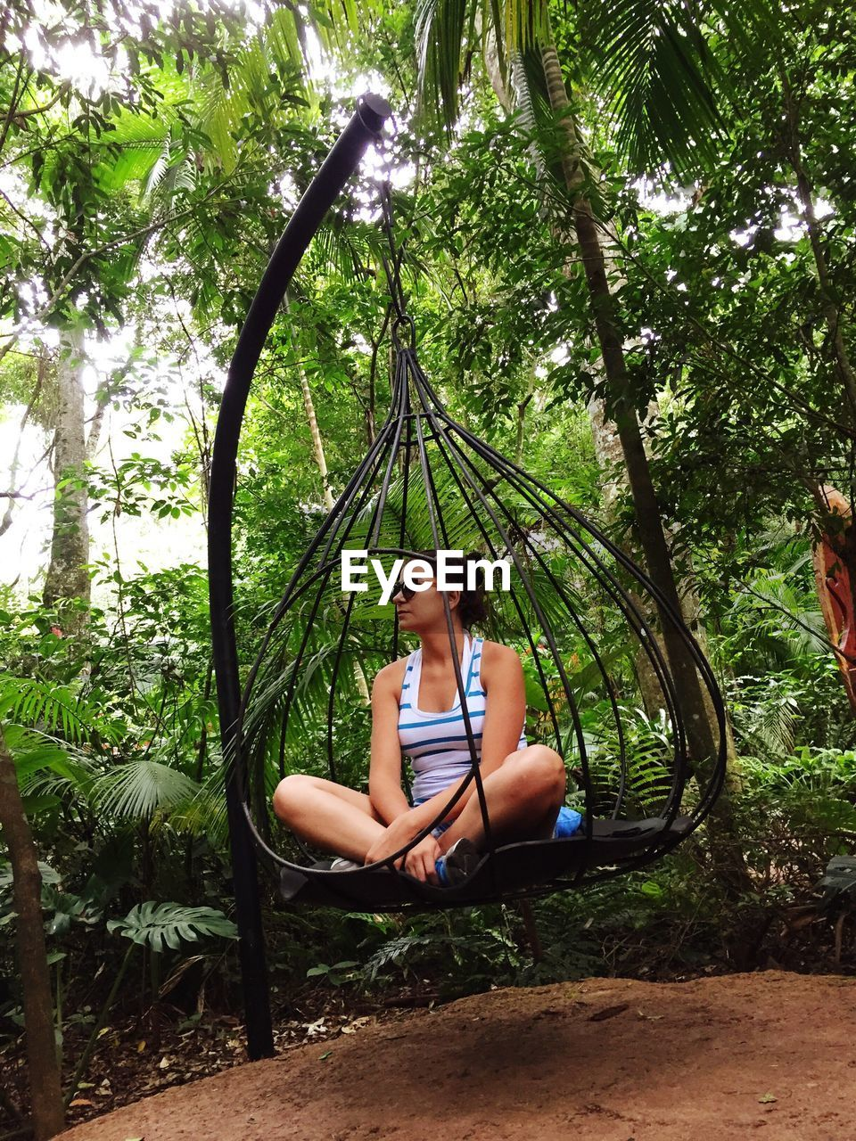 Young Woman Sitting On Hanging Swing Against Trees In Back Yard