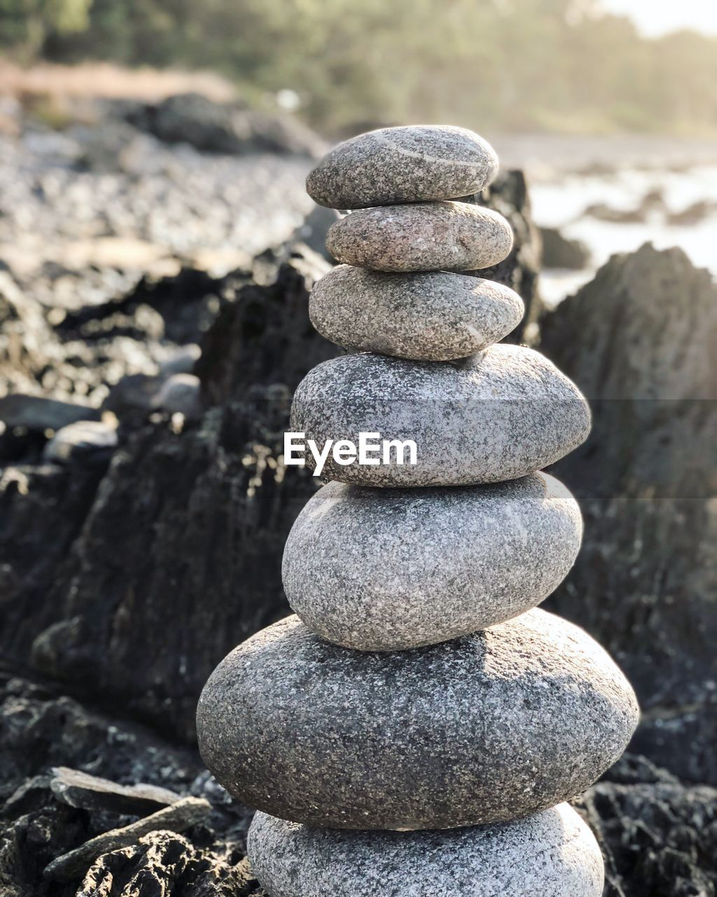 stack, balance, zen-like, stone - object, stone, solid, pebble, rock, nature, focus on foreground, rock - object, land, no people, sunlight, tranquility, close-up, day, outdoors, textured, beach