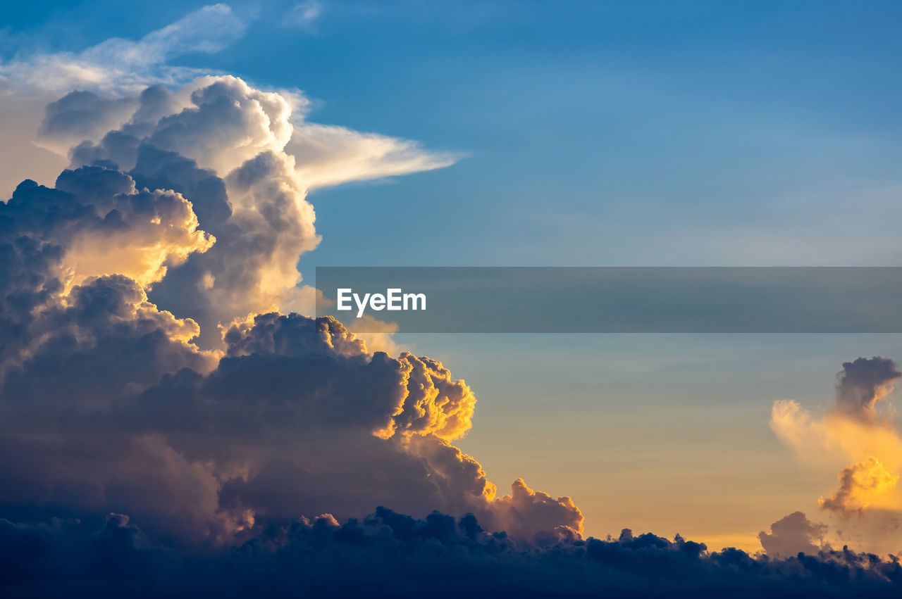cloud - sky, sky, beauty in nature, scenics - nature, sunset, tranquility, tranquil scene, idyllic, no people, nature, orange color, cloudscape, low angle view, outdoors, dramatic sky, sunlight, backgrounds, full frame, majestic, meteorology