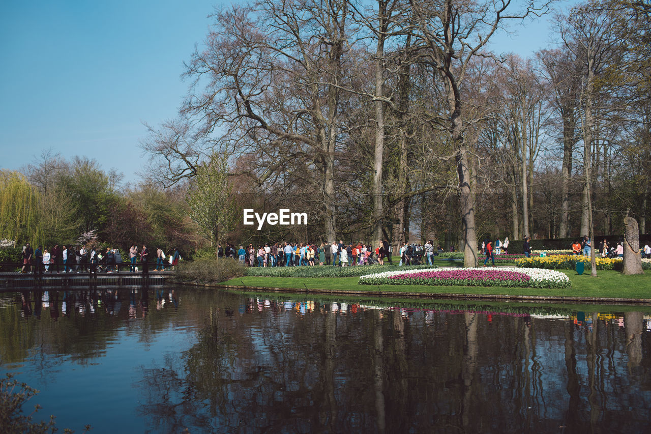 plant, tree, water, reflection, nature, sky, group of people, crowd, lake, large group of people, park, day, beauty in nature, park - man made space, real people, travel destinations, leisure activity, men, outdoors