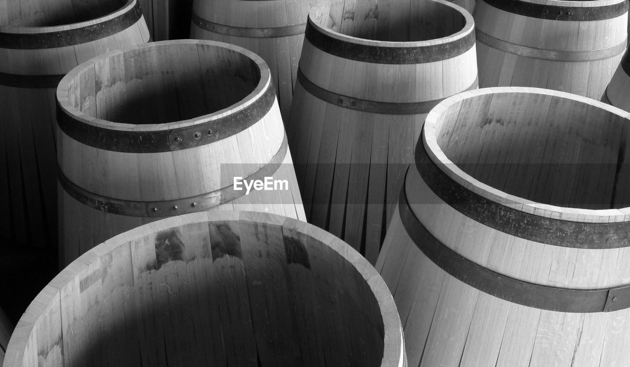 High Angle View Of Empty Barrels