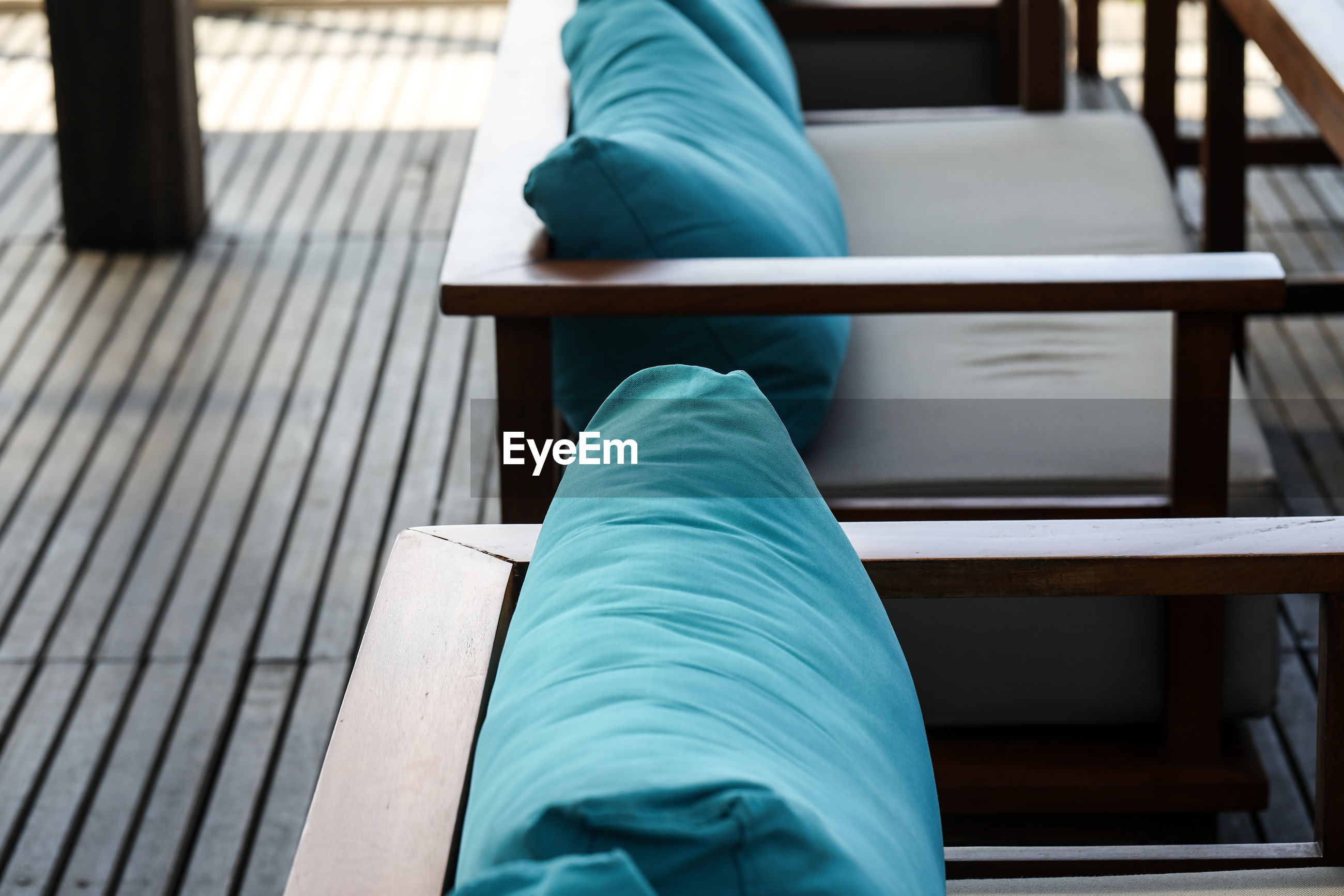 High angle view of cushions on furniture