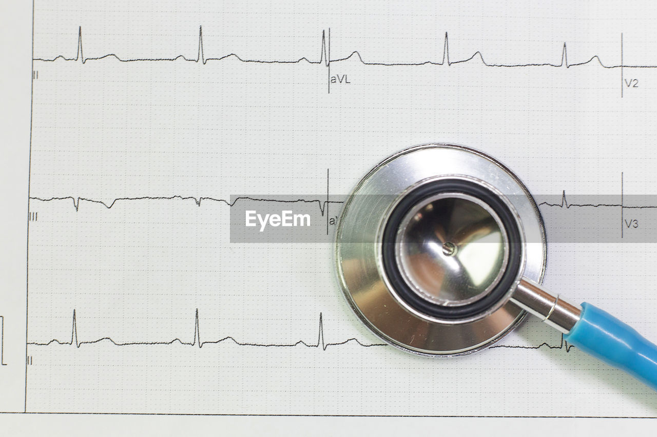 indoors, directly above, no people, studio shot, still life, close-up, white background, diagram, stethoscope, healthcare and medicine, graph, high angle view, medical instrument, paper, text, metal, medical supplies, copy space, medical equipment, business, silver colored, pulse trace