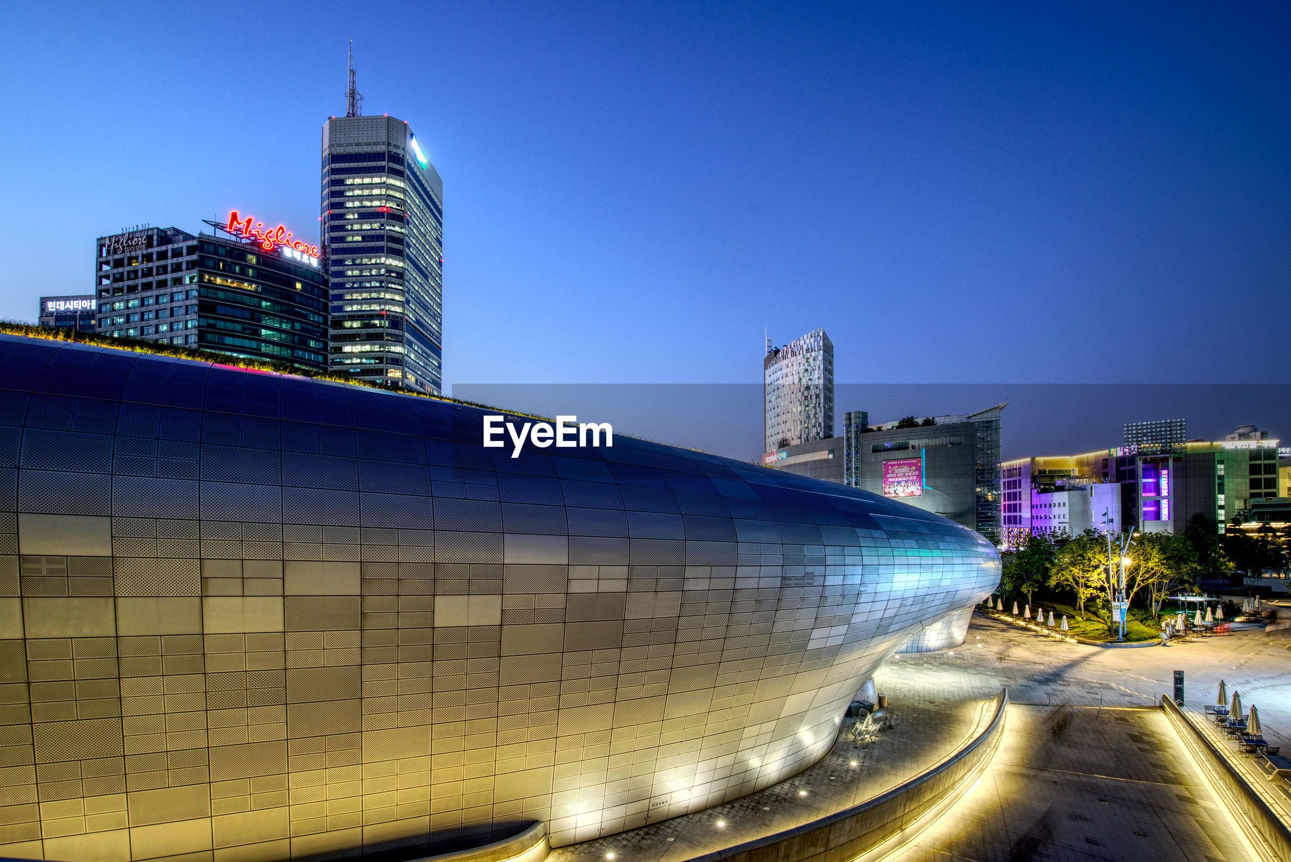 MODERN BUILDINGS AT NIGHT