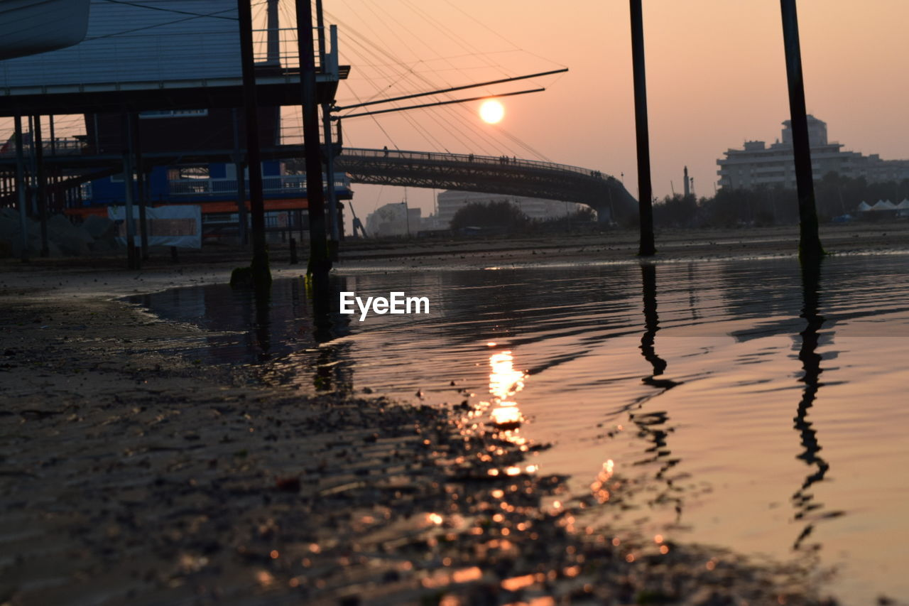sunset, reflection, connection, water, bridge - man made structure, architecture, river, built structure, no people, nature, outdoors, sky, travel destinations, city, day