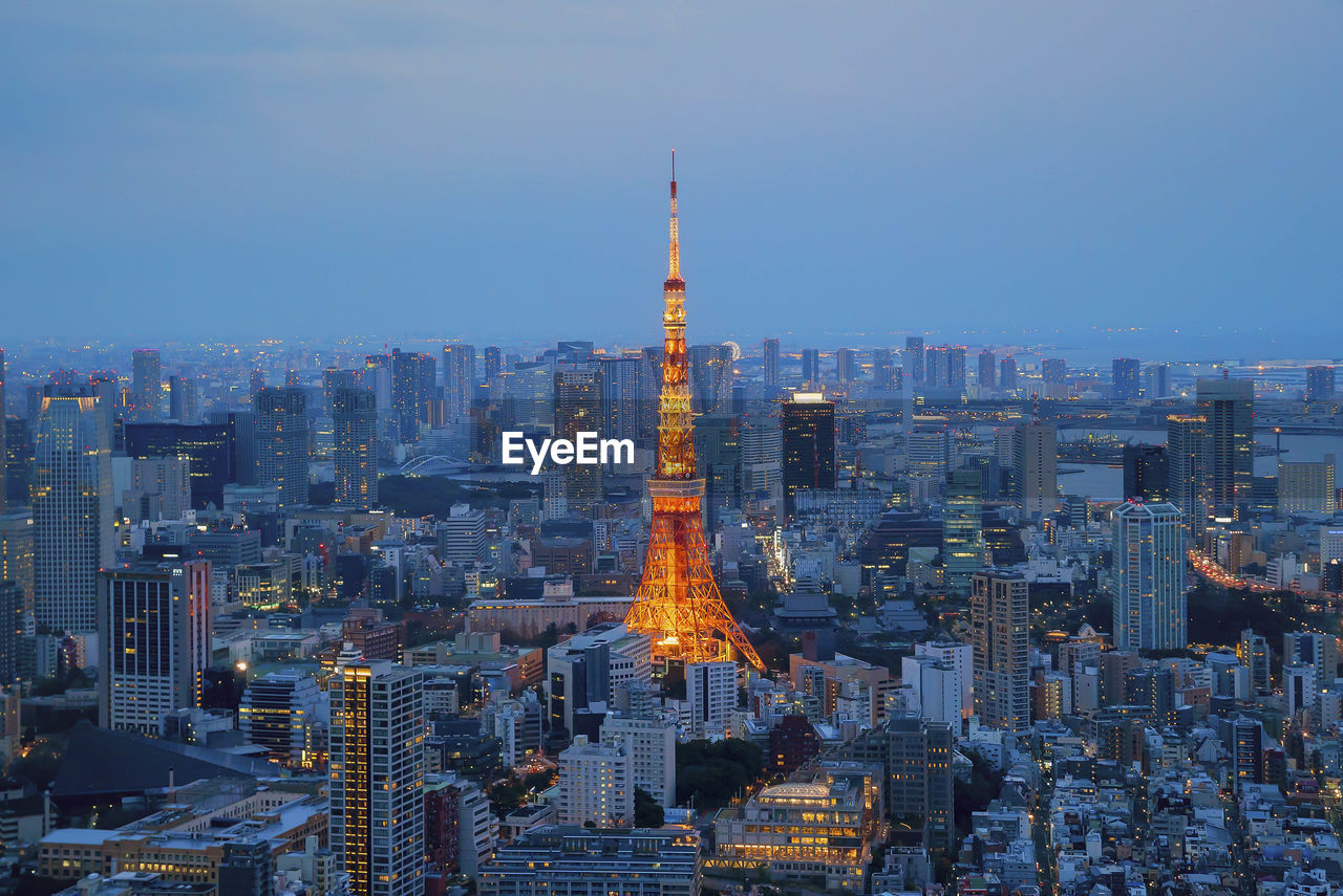 Aerial view of illuminated tokyo cityscape