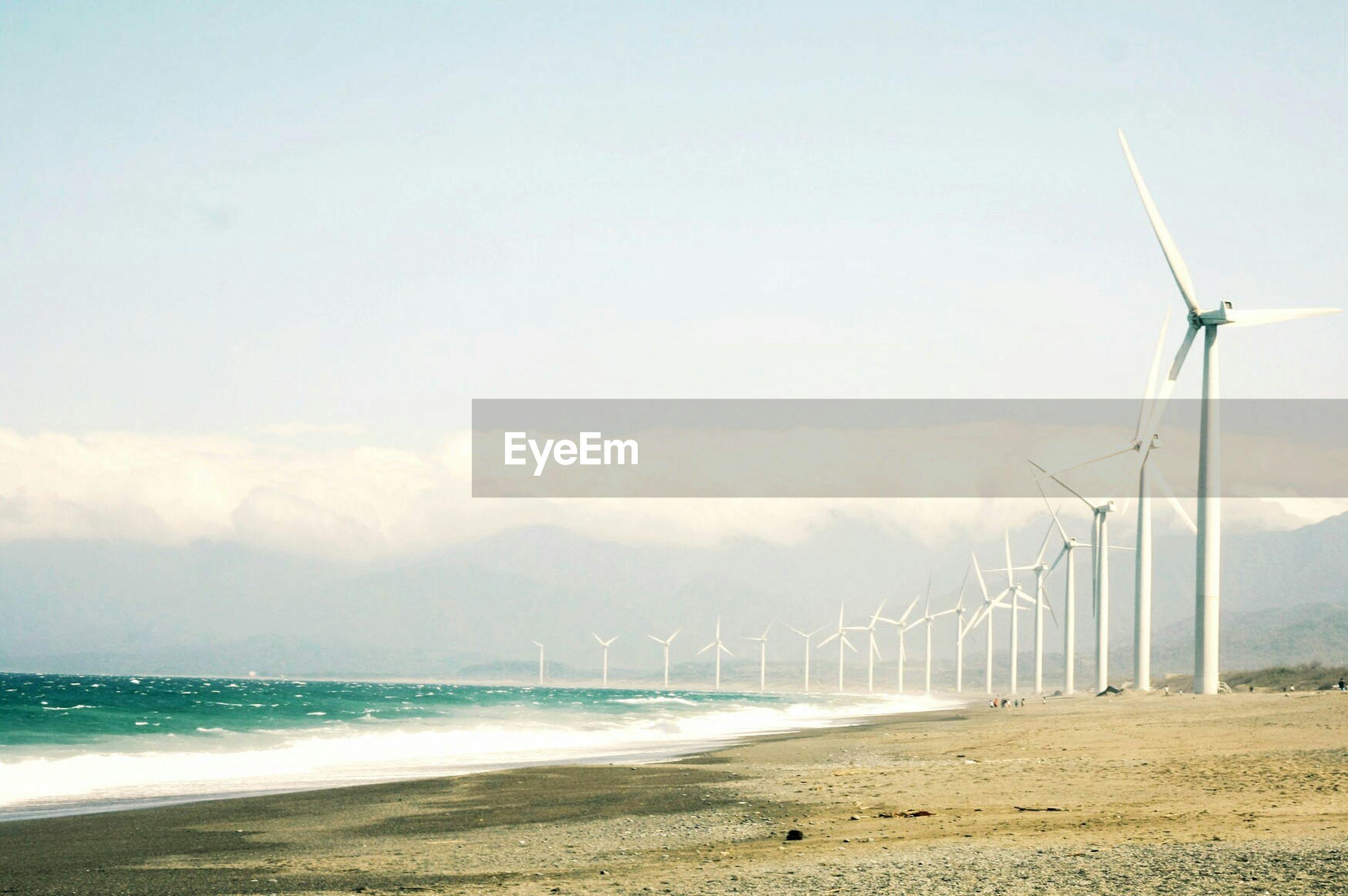 Wind farm on beach