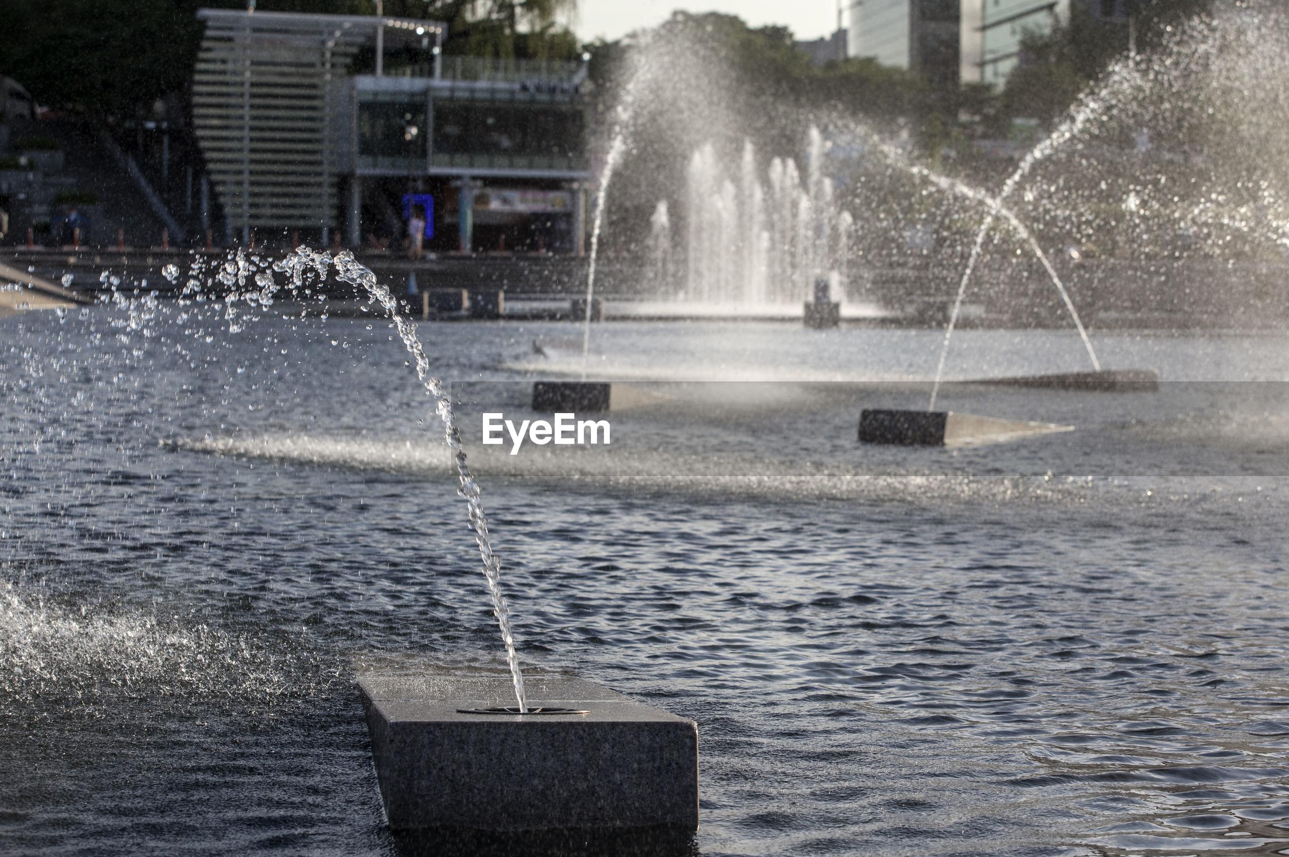 Fountain in lake