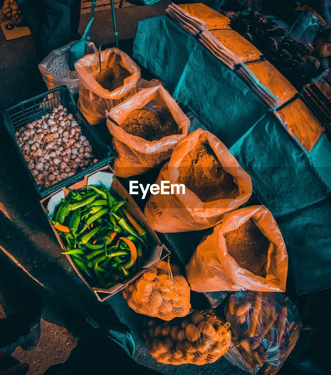 food, high angle view, food and drink, freshness, no people, vegetable, choice, still life, indoors, healthy eating, variation, for sale, container, wellbeing, business, market, close-up, arrangement, day, spice, variety