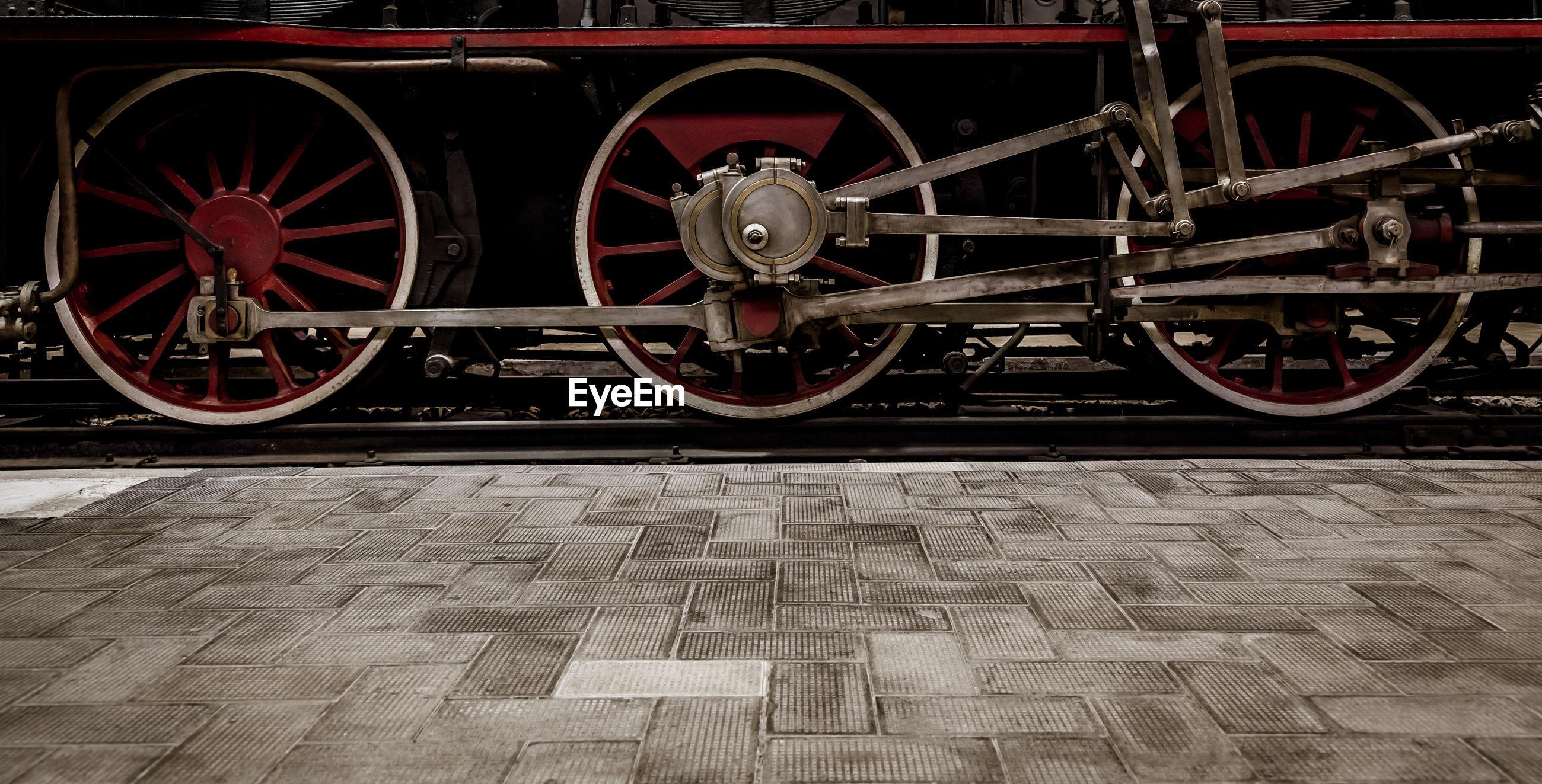 Close-up of train wheel on railroad track