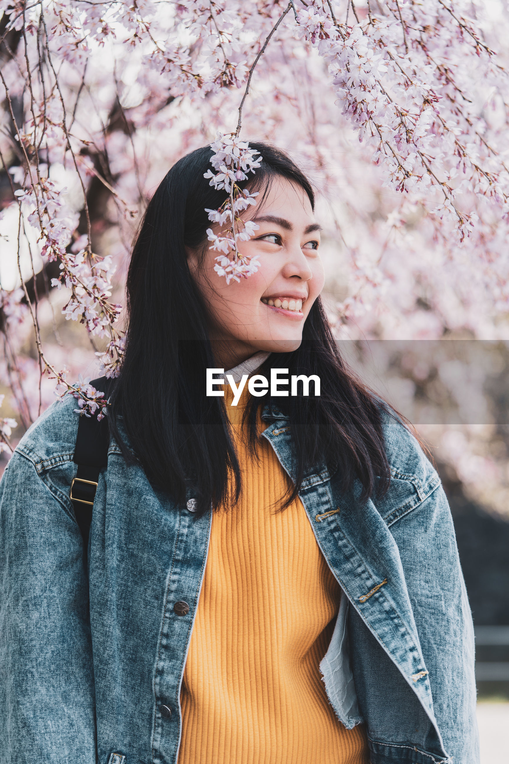 Smiling woman standing against cherry tree