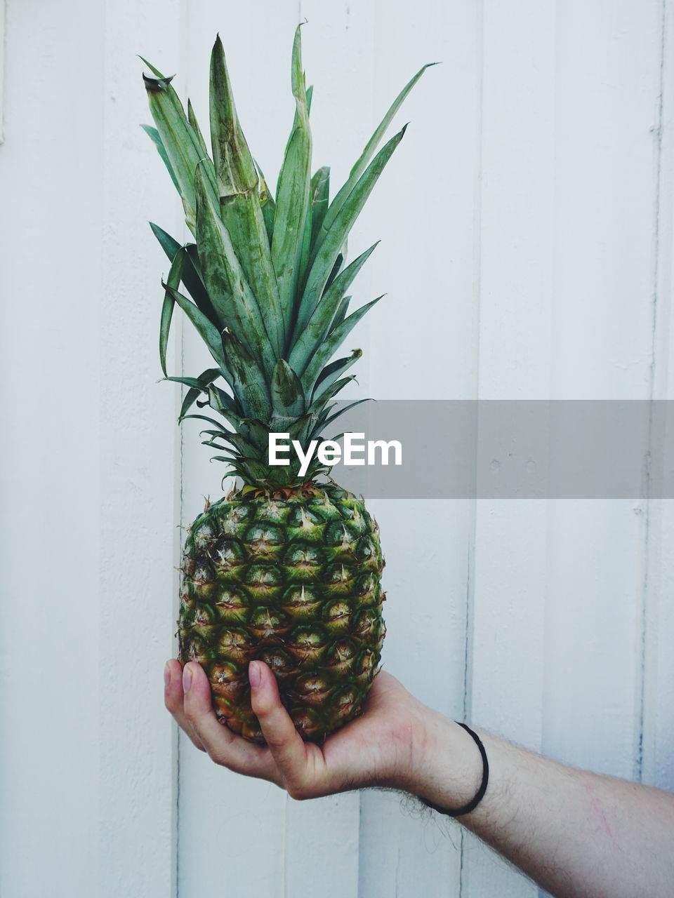 human hand, healthy eating, hand, one person, food and drink, food, fruit, holding, human body part, wellbeing, real people, pineapple, freshness, tropical fruit, wall - building feature, unrecognizable person, lifestyles, body part, leisure activity, finger, human limb