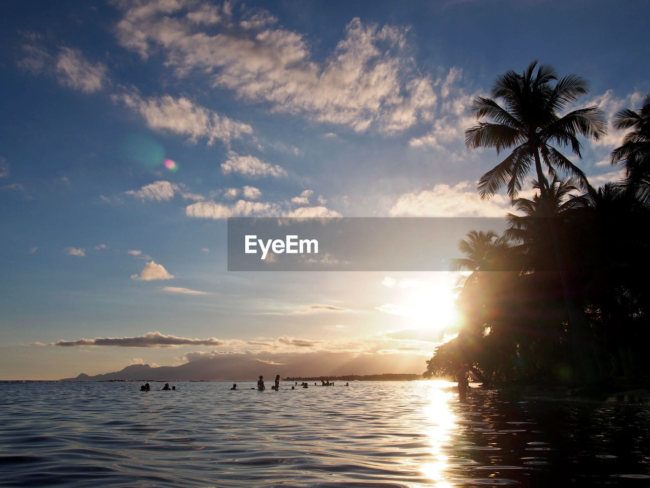 sky, water, sunset, cloud - sky, beauty in nature, scenics - nature, sea, palm tree, tranquil scene, tropical climate, tranquility, tree, nature, waterfront, no people, silhouette, sunlight, plant, idyllic, sun, outdoors, coconut palm tree