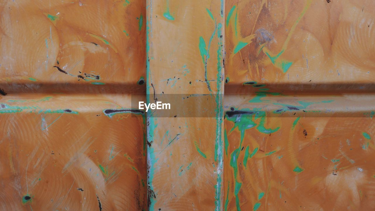 full frame, backgrounds, no people, weathered, textured, pattern, paint, close-up, damaged, orange color, day, old, wood - material, wall - building feature, decline, metal, deterioration, bad condition, rusty, run-down