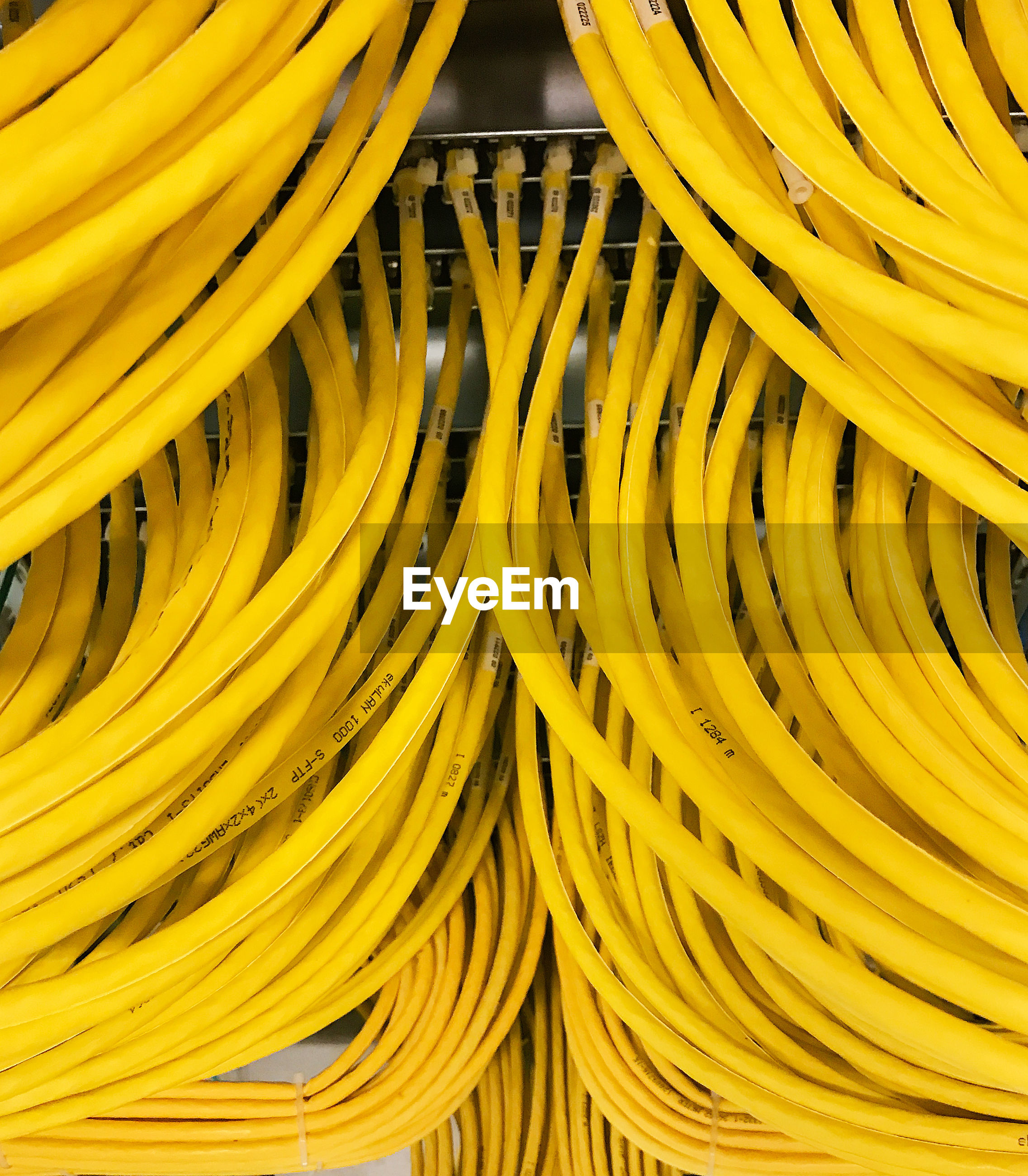 Full frame shot of yellow cables