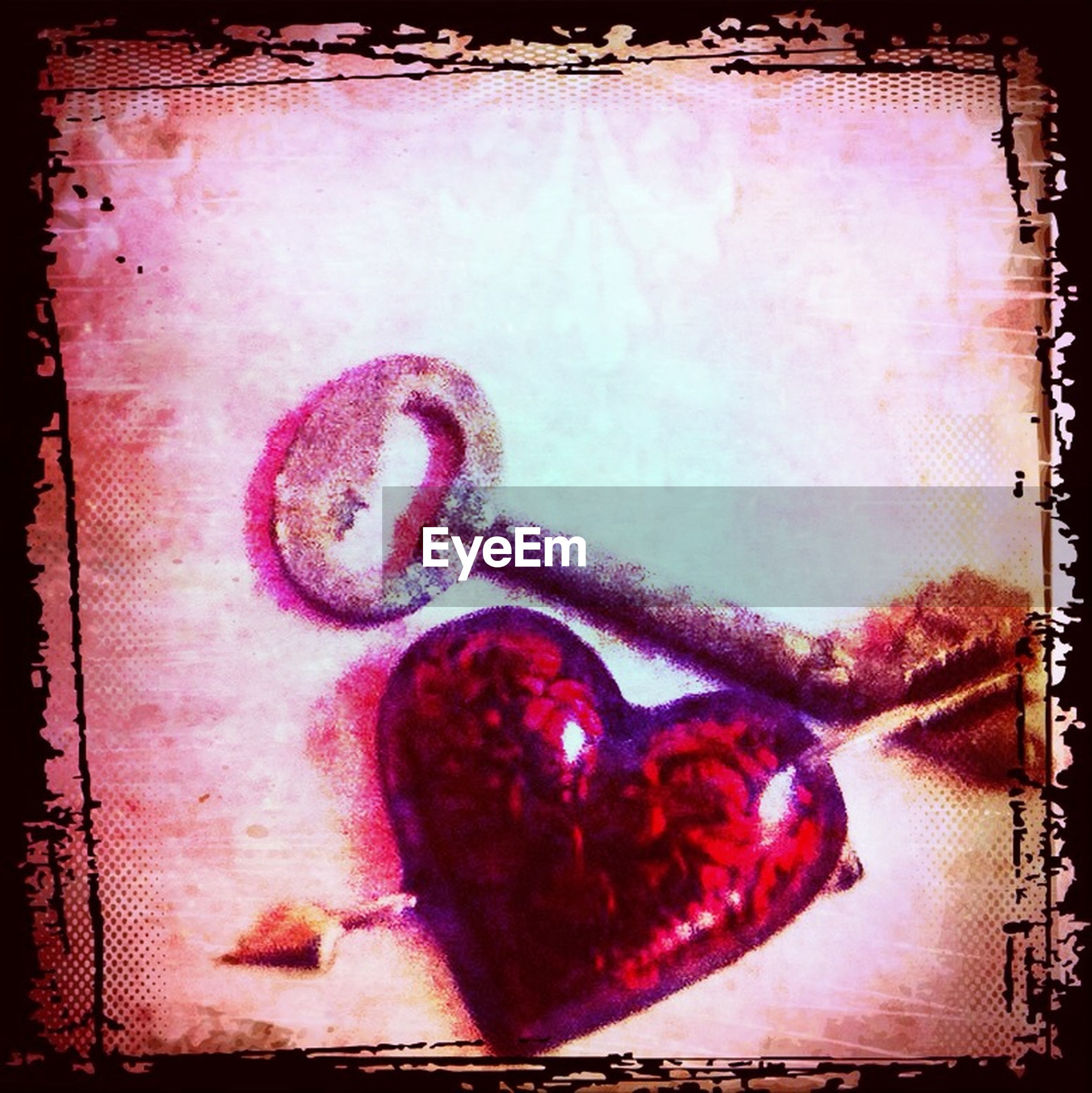 transfer print, auto post production filter, indoors, close-up, red, art and craft, art, creativity, wall - building feature, no people, communication, text, still life, heart shape, metal, wood - material, old, human representation, wall, western script