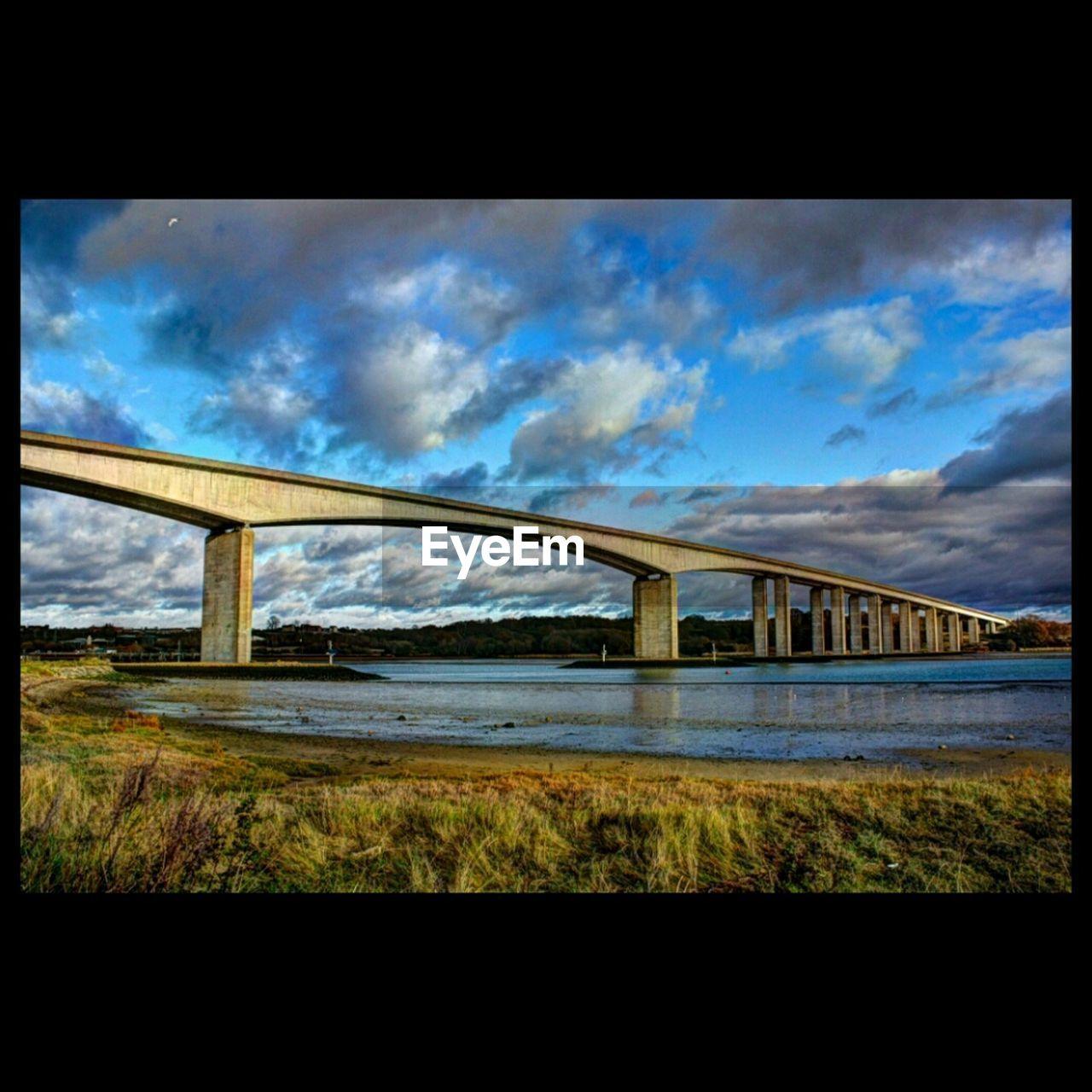 bridge - man made structure, connection, sky, architecture, cloud - sky, built structure, transportation, day, no people, bridge, grass, outdoors, nature