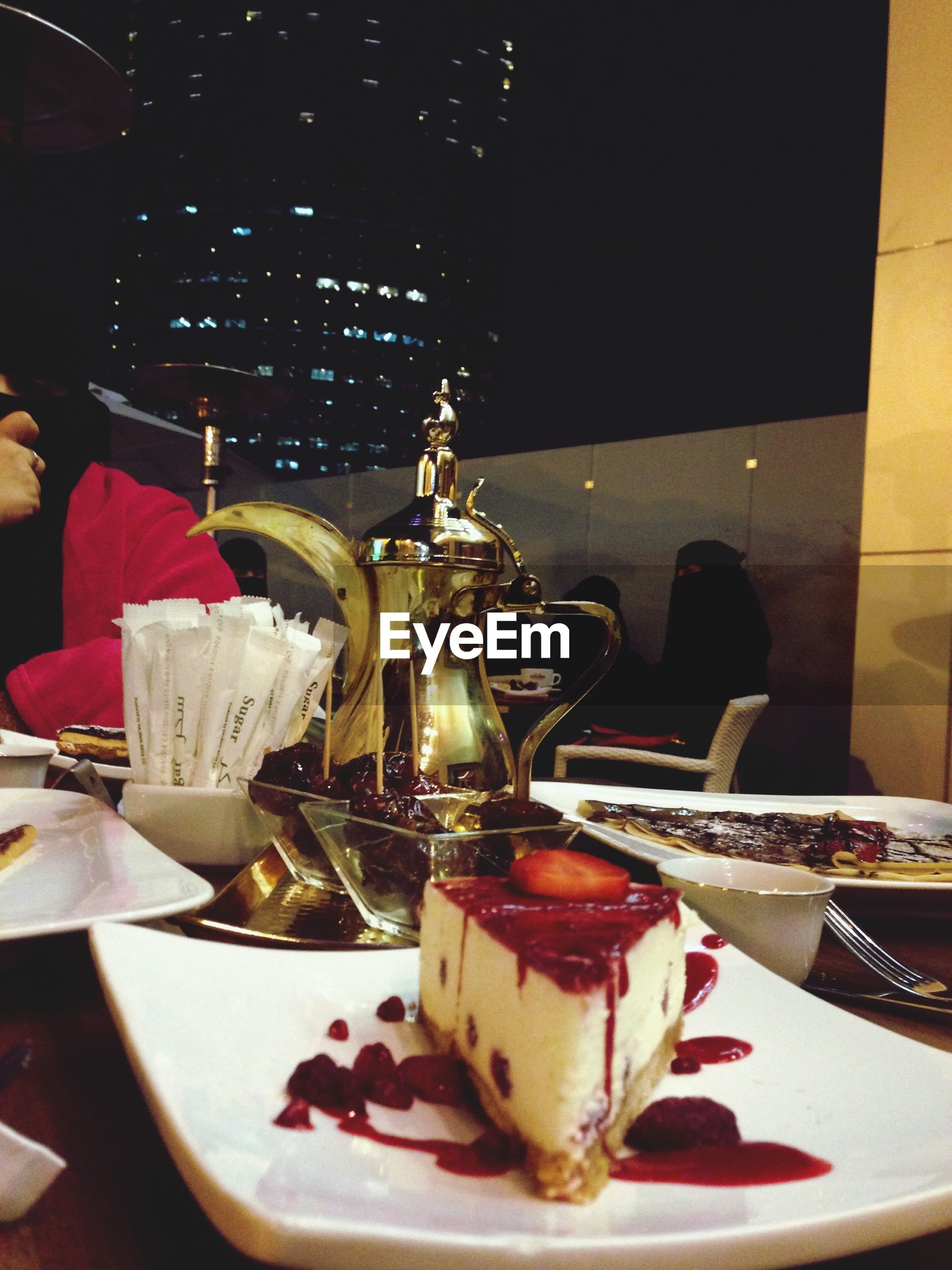 food and drink, indoors, food, freshness, table, still life, plate, sweet food, indulgence, ready-to-eat, drink, dessert, unhealthy eating, cake, refreshment, close-up, serving size, drinking glass, restaurant