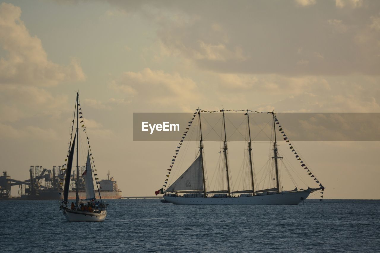 nautical vessel, sky, sea, mode of transport, mast, transportation, cloud - sky, sailboat, nature, water, waterfront, no people, sailing, outdoors, sunset, scenics, beauty in nature, tall ship, day, sailing ship