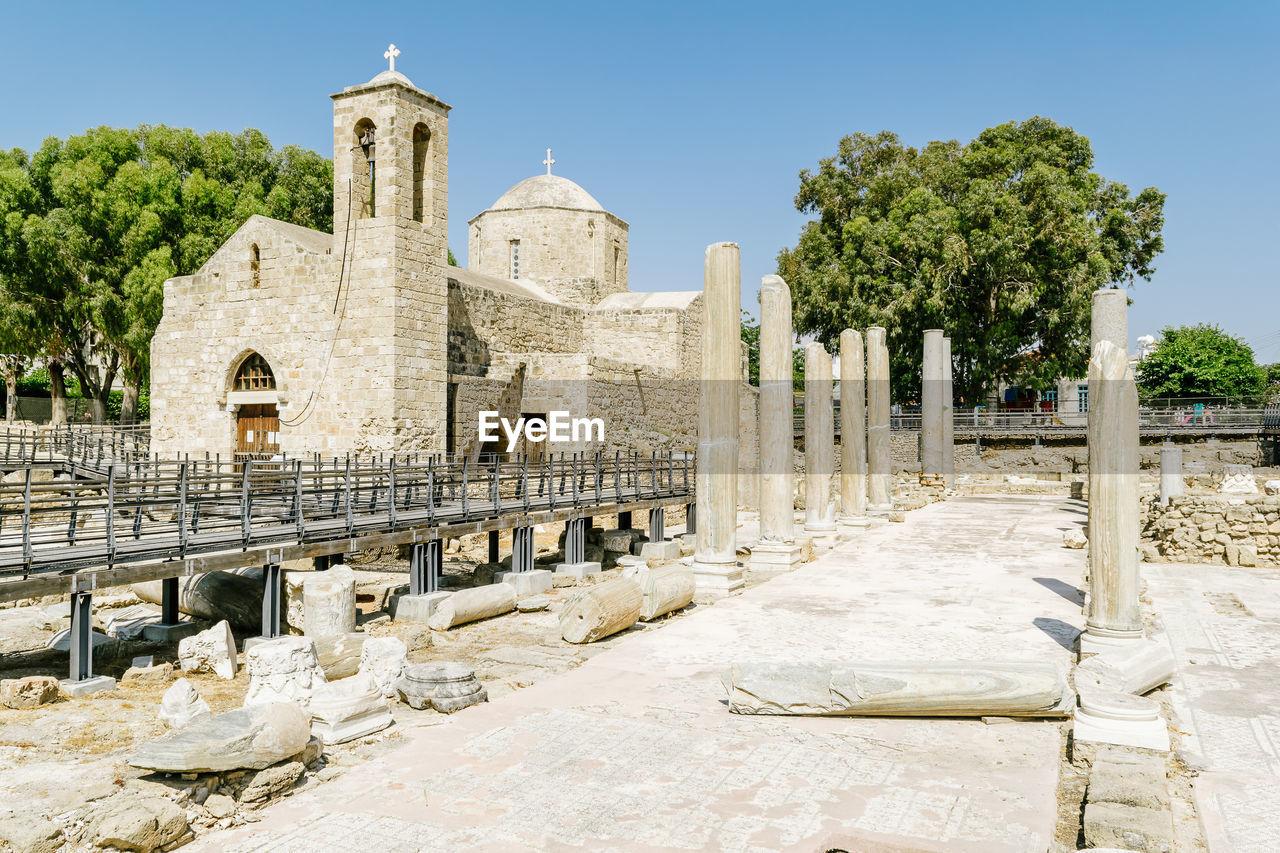 View of ayia kyriaki chrysopolitissa church against clear sky