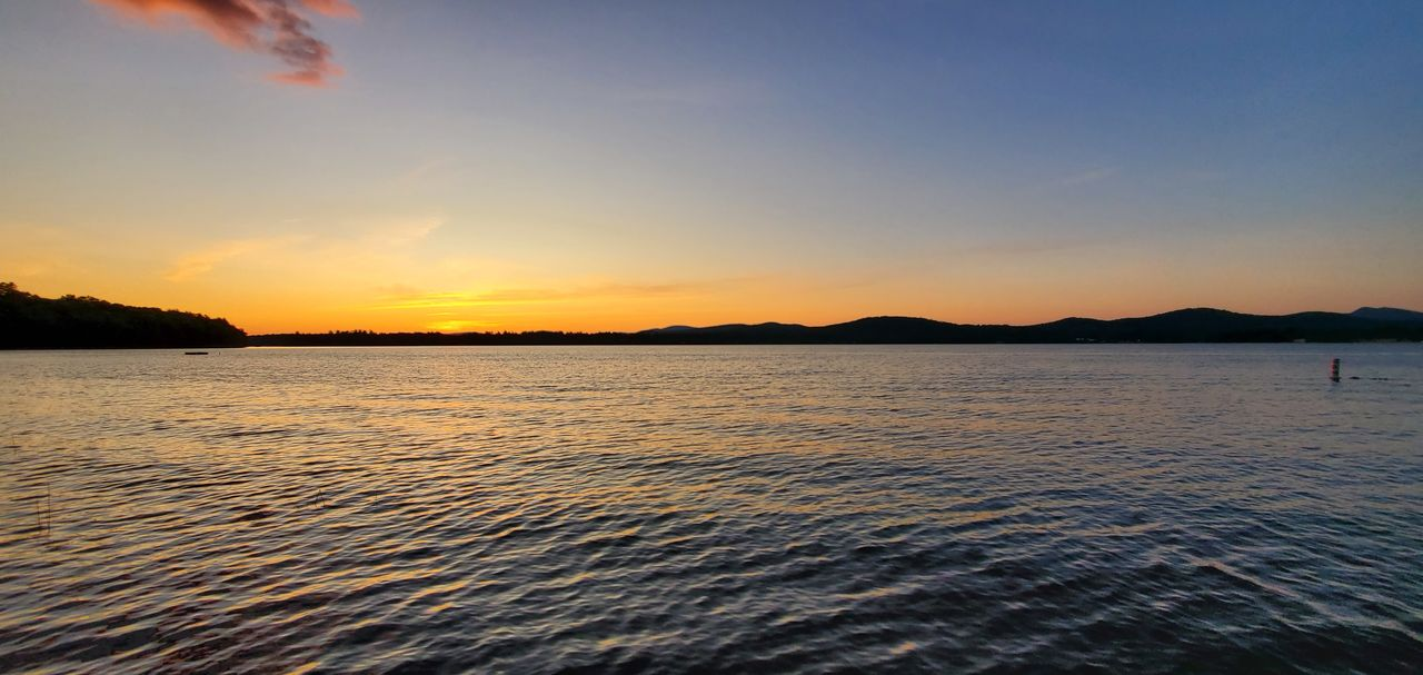 water, sky, sunset, scenics - nature, beauty in nature, tranquil scene, tranquility, waterfront, sea, nature, orange color, idyllic, non-urban scene, no people, cloud - sky, outdoors, remote, silhouette, rippled
