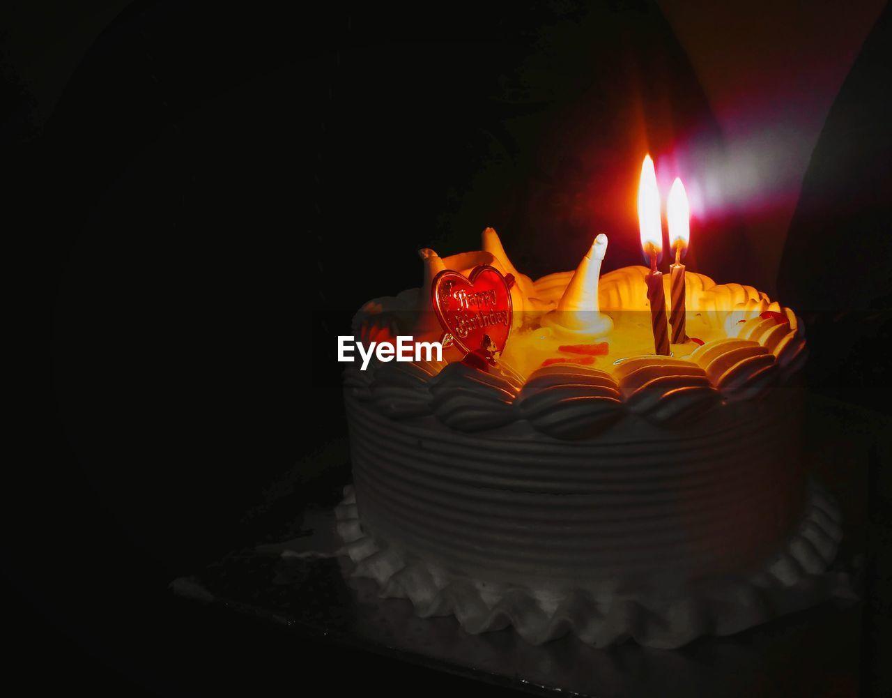 flame, candle, burning, glowing, illuminated, heat - temperature, no people, indoors, cake, darkroom, birthday cake, celebration, sweet food, birthday candles, close-up, night, diya - oil lamp