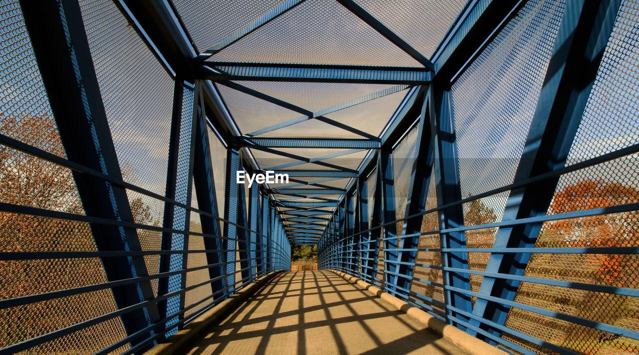 Empty Covered Bridge In Sunny Day