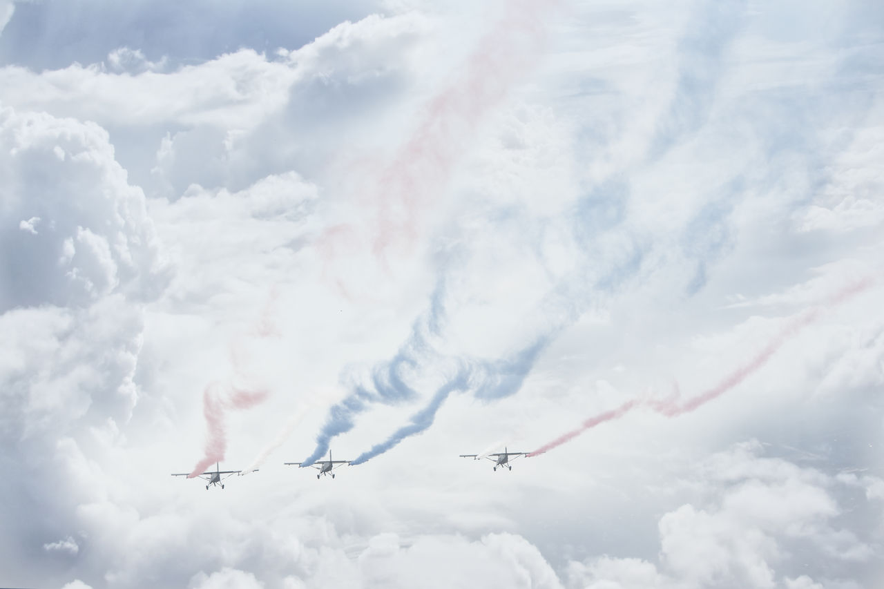cloud - sky, airplane, air vehicle, sky, flying, airshow, smoke - physical structure, low angle view, on the move, mode of transportation, transportation, motion, plane, fighter plane, teamwork, nature, cooperation, day, travel, no people, vapor trail, outdoors, order, aerobatics