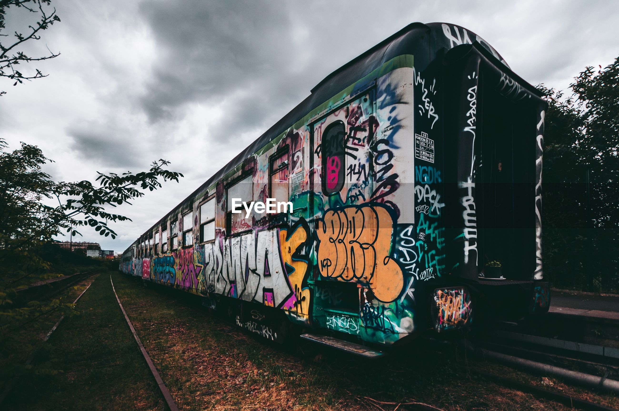 graffiti, sky, cloud - sky, text, outdoors, rail transportation, train - vehicle, day, railroad track, tree, built structure, no people, architecture, nature