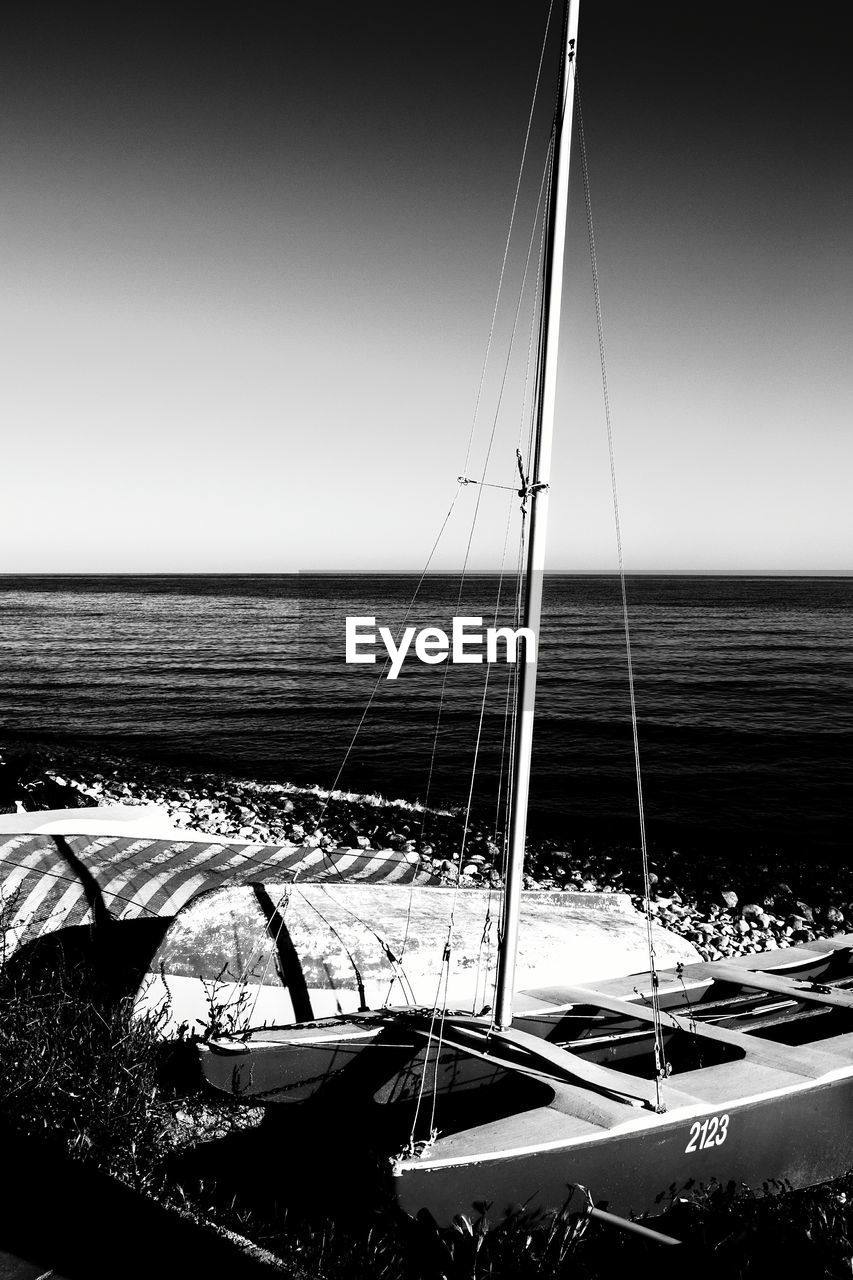water, sea, sky, transportation, nautical vessel, mode of transportation, horizon over water, horizon, sailboat, nature, no people, beauty in nature, mast, clear sky, pole, scenics - nature, sailing, tranquility, day, yacht, yachting, luxury