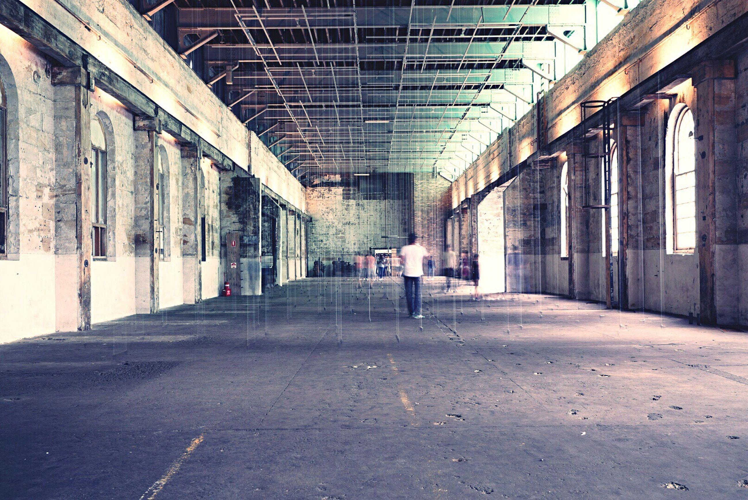 Rear view of man standing on floor in building